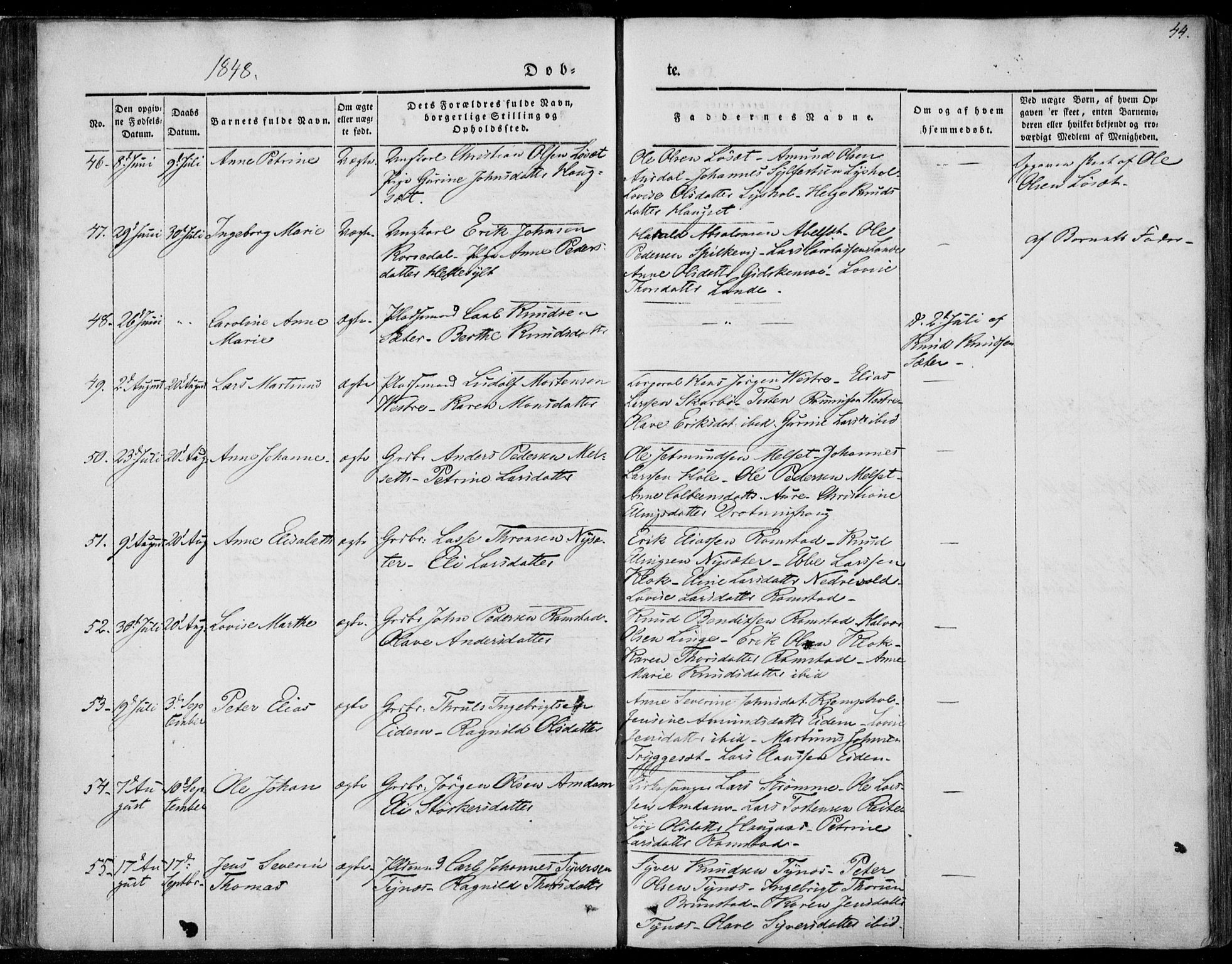 SAT, Ministerialprotokoller, klokkerbøker og fødselsregistre - Møre og Romsdal, 522/L0312: Ministerialbok nr. 522A07, 1843-1851, s. 44