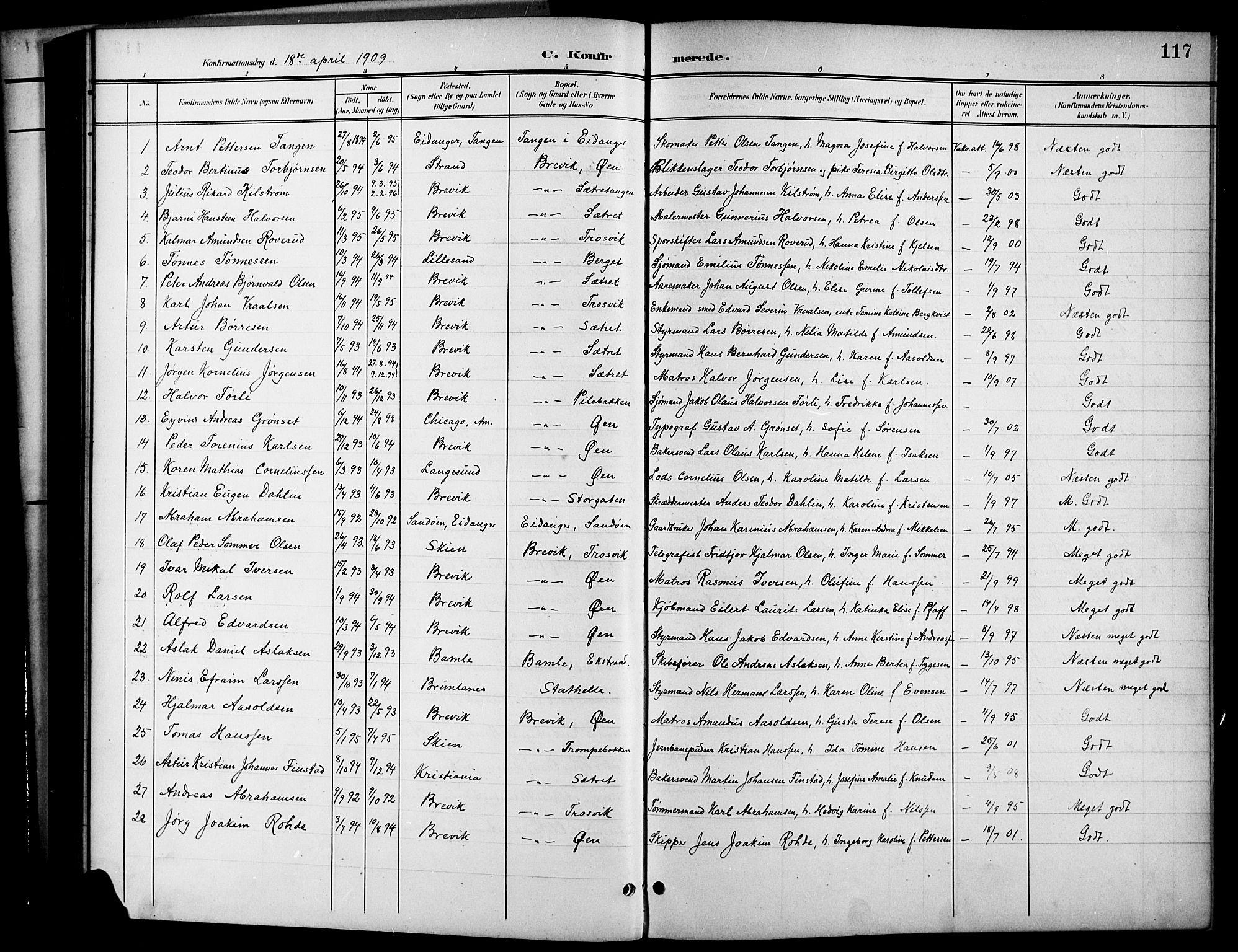 SAKO, Brevik kirkebøker, G/Ga/L0005: Klokkerbok nr. 5, 1901-1924, s. 117