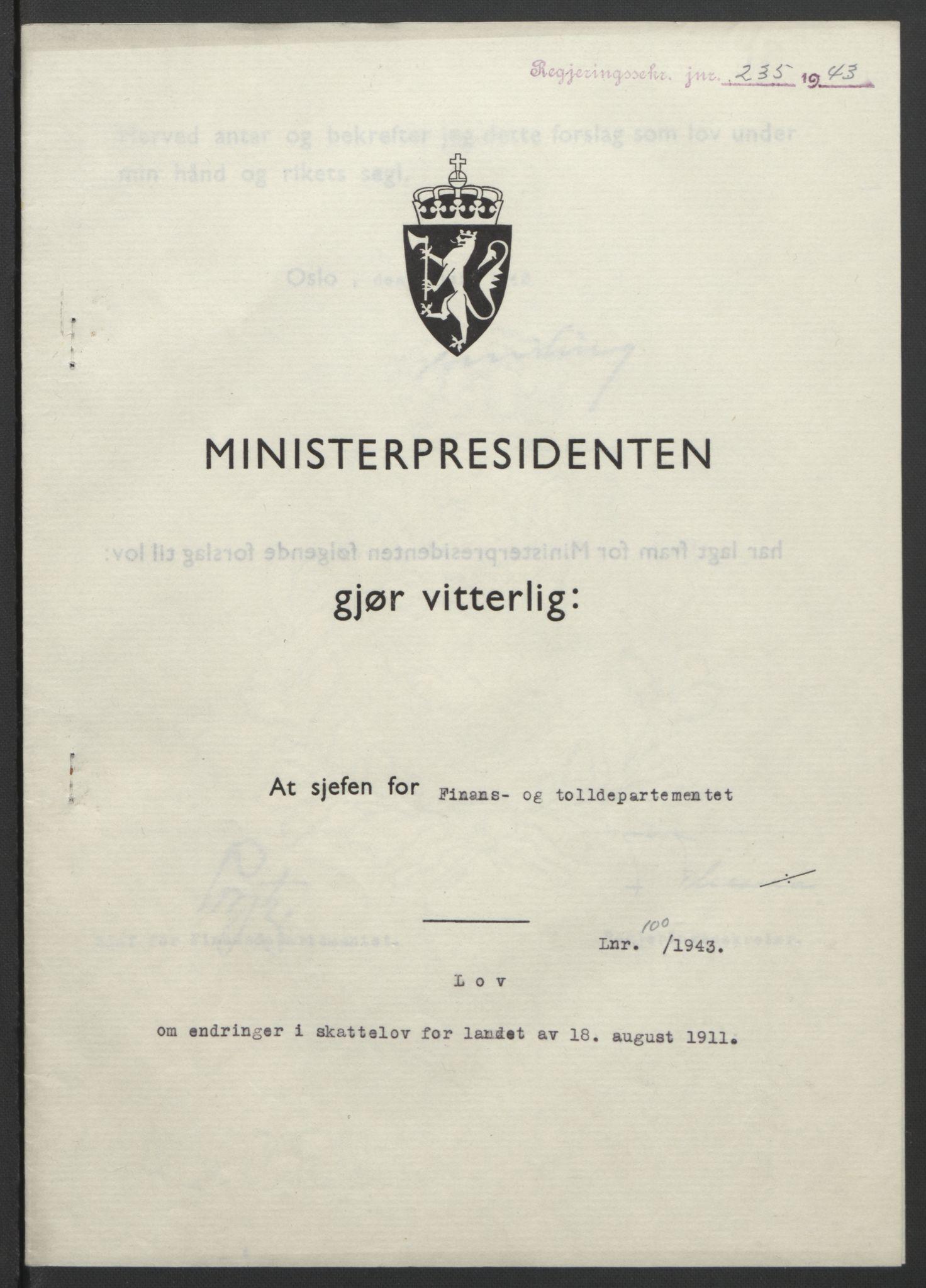 RA, NS-administrasjonen 1940-1945 (Statsrådsekretariatet, de kommisariske statsråder mm), D/Db/L0099: Lover, 1943, s. 456