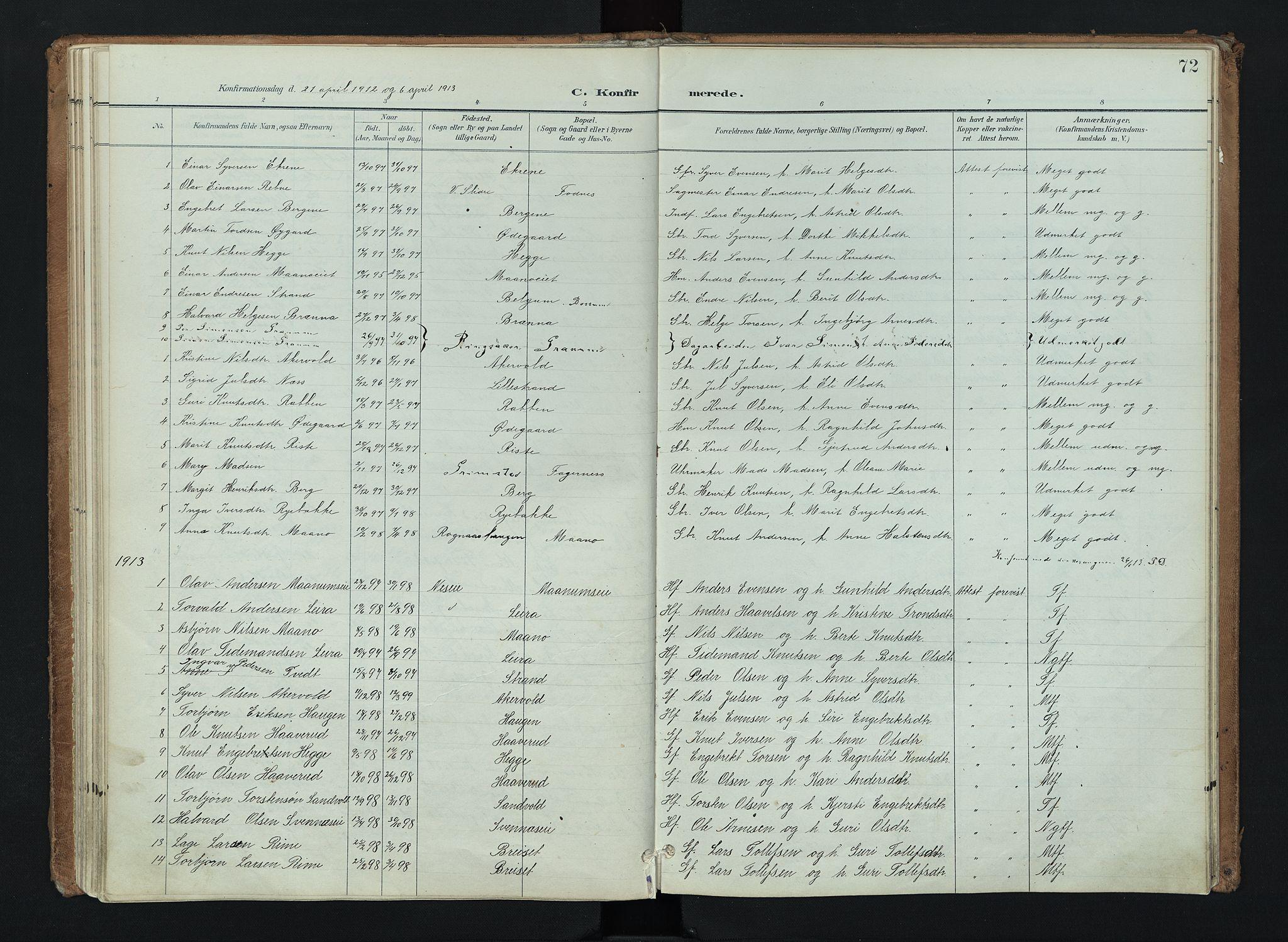 SAH, Nord-Aurdal prestekontor, Ministerialbok nr. 16, 1897-1925, s. 72