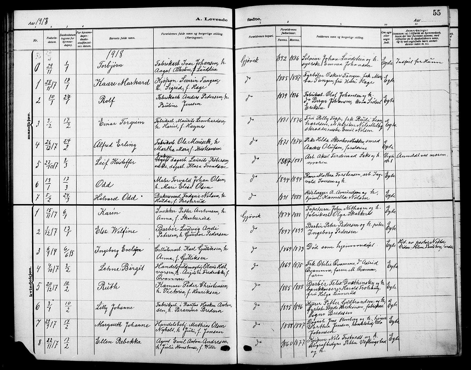 SAH, Vardal prestekontor, H/Ha/Hab/L0014: Klokkerbok nr. 14, 1911-1922, s. 55