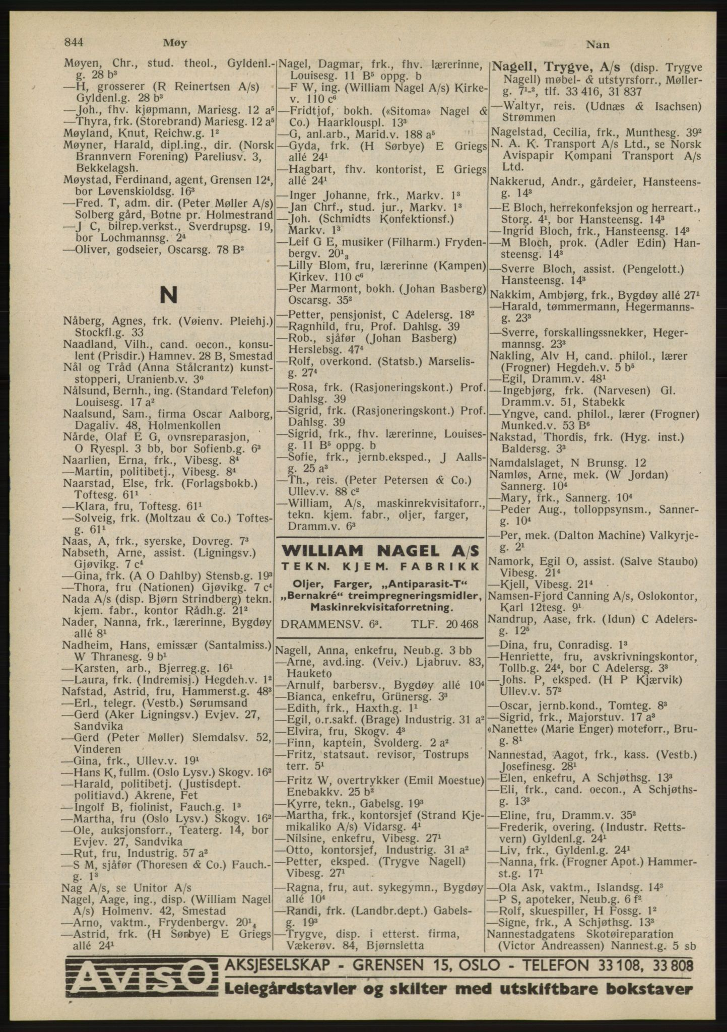 RA, Oslo adressebok (publikasjon)*, 1945, s. 844