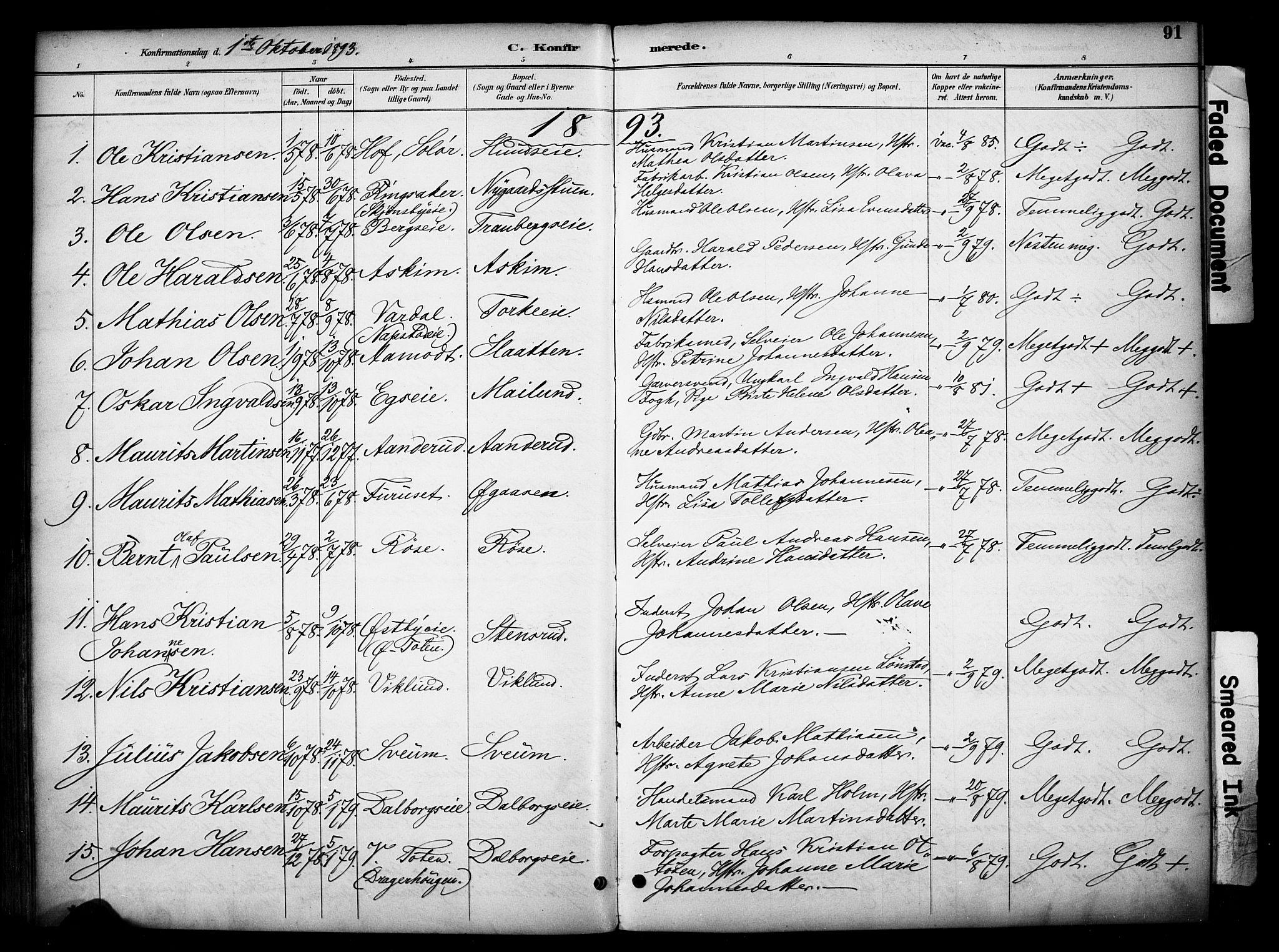 SAH, Vardal prestekontor, H/Ha/Haa/L0012: Ministerialbok nr. 12, 1893-1904, s. 91