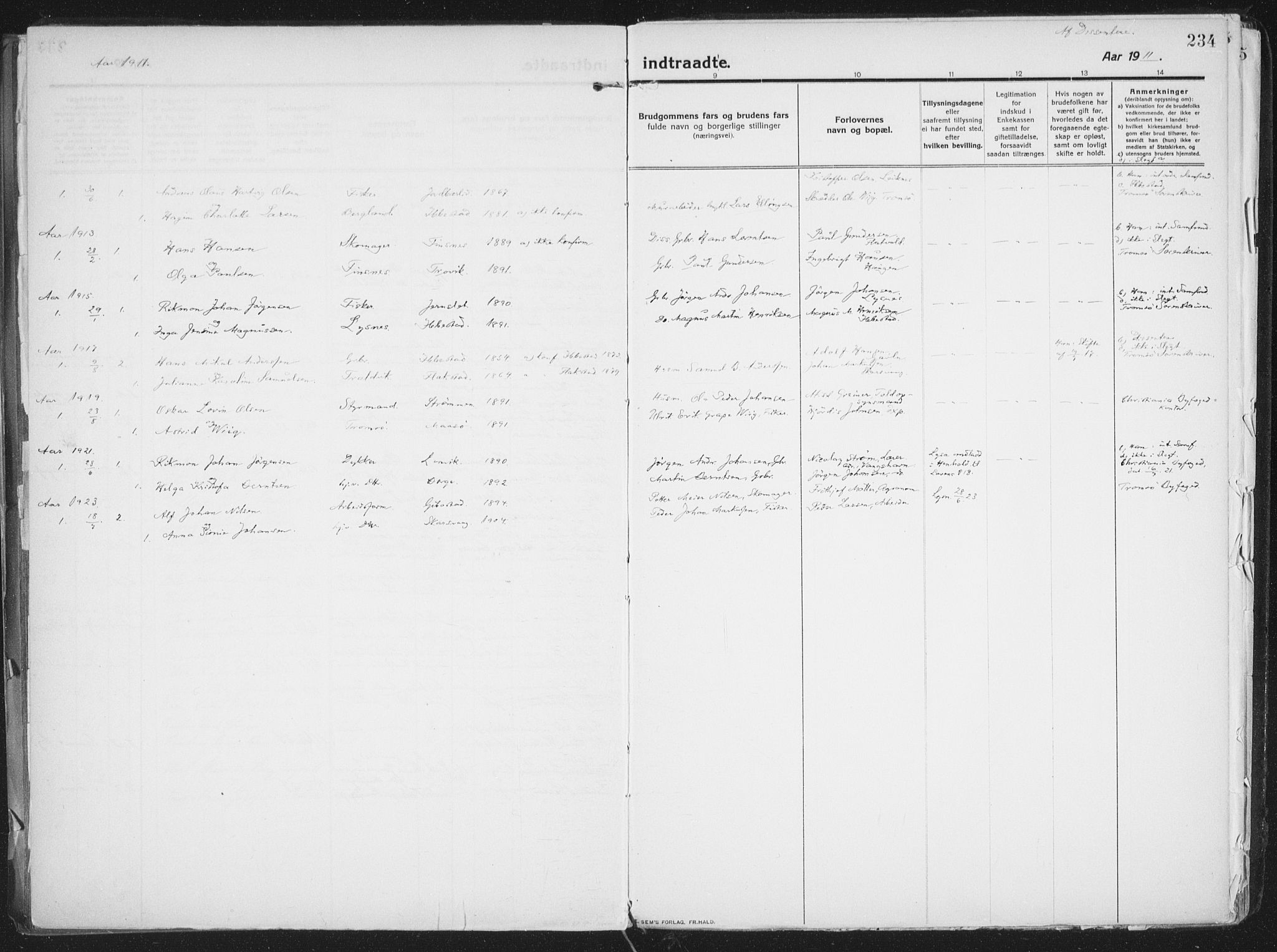 SATØ, Lenvik sokneprestembete, H/Ha: Ministerialbok nr. 16, 1910-1924, s. 234