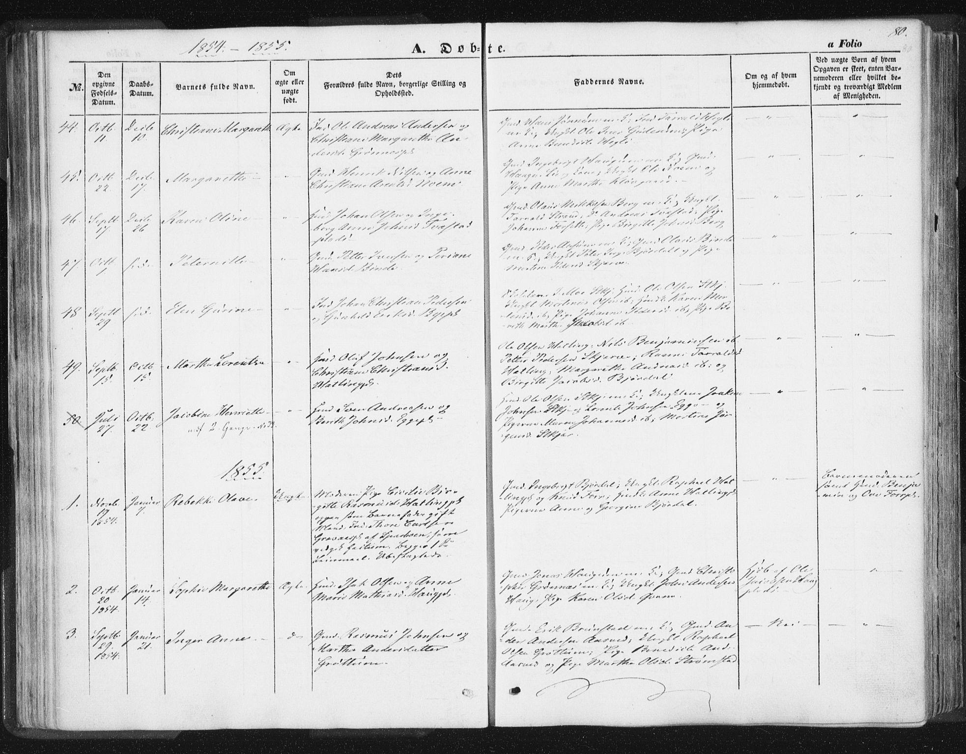 SAT, Ministerialprotokoller, klokkerbøker og fødselsregistre - Nord-Trøndelag, 746/L0446: Ministerialbok nr. 746A05, 1846-1859, s. 80