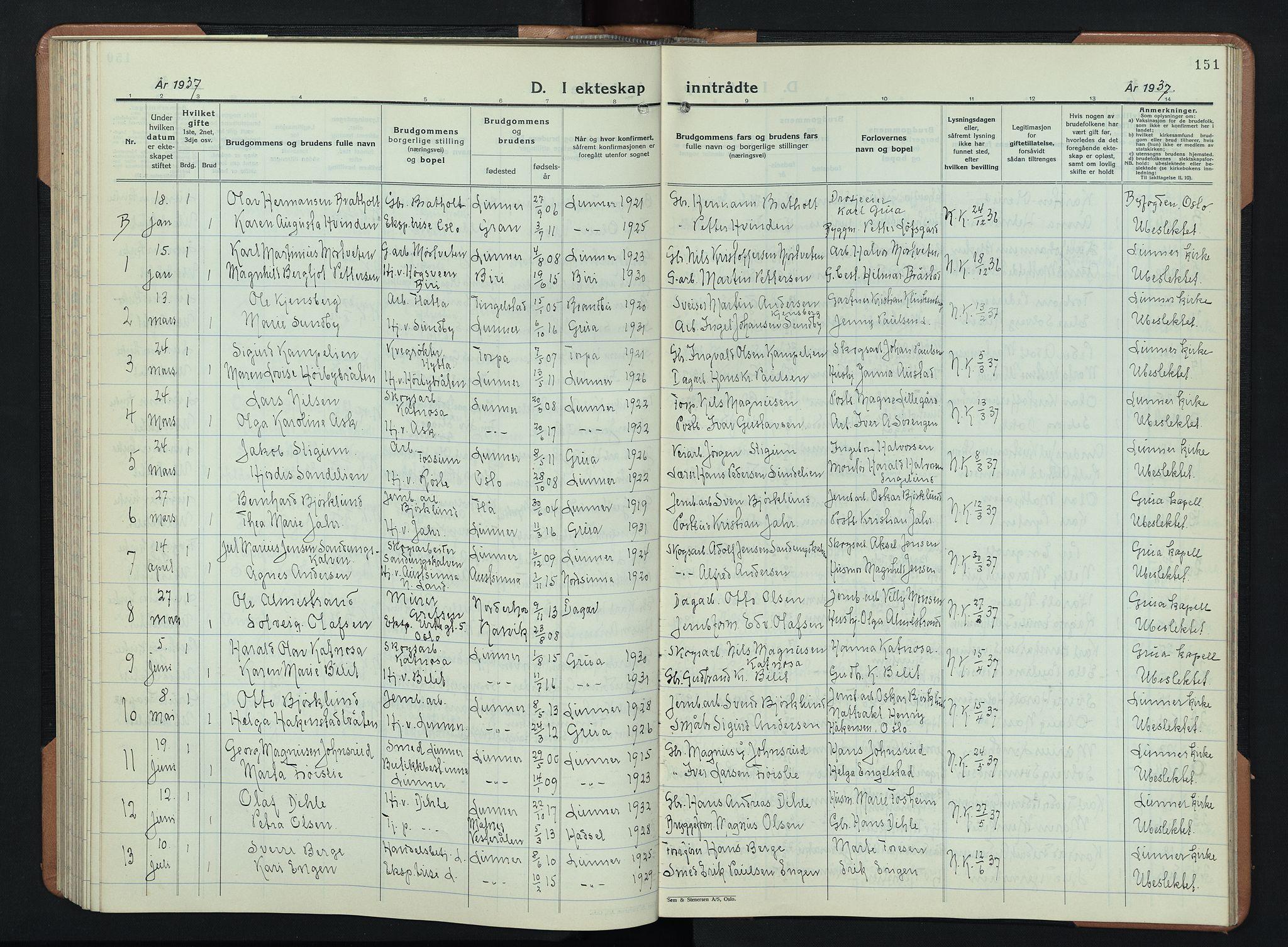 SAH, Lunner prestekontor, H/Ha/Hab/L0003: Klokkerbok nr. 3, 1933-1945, s. 151