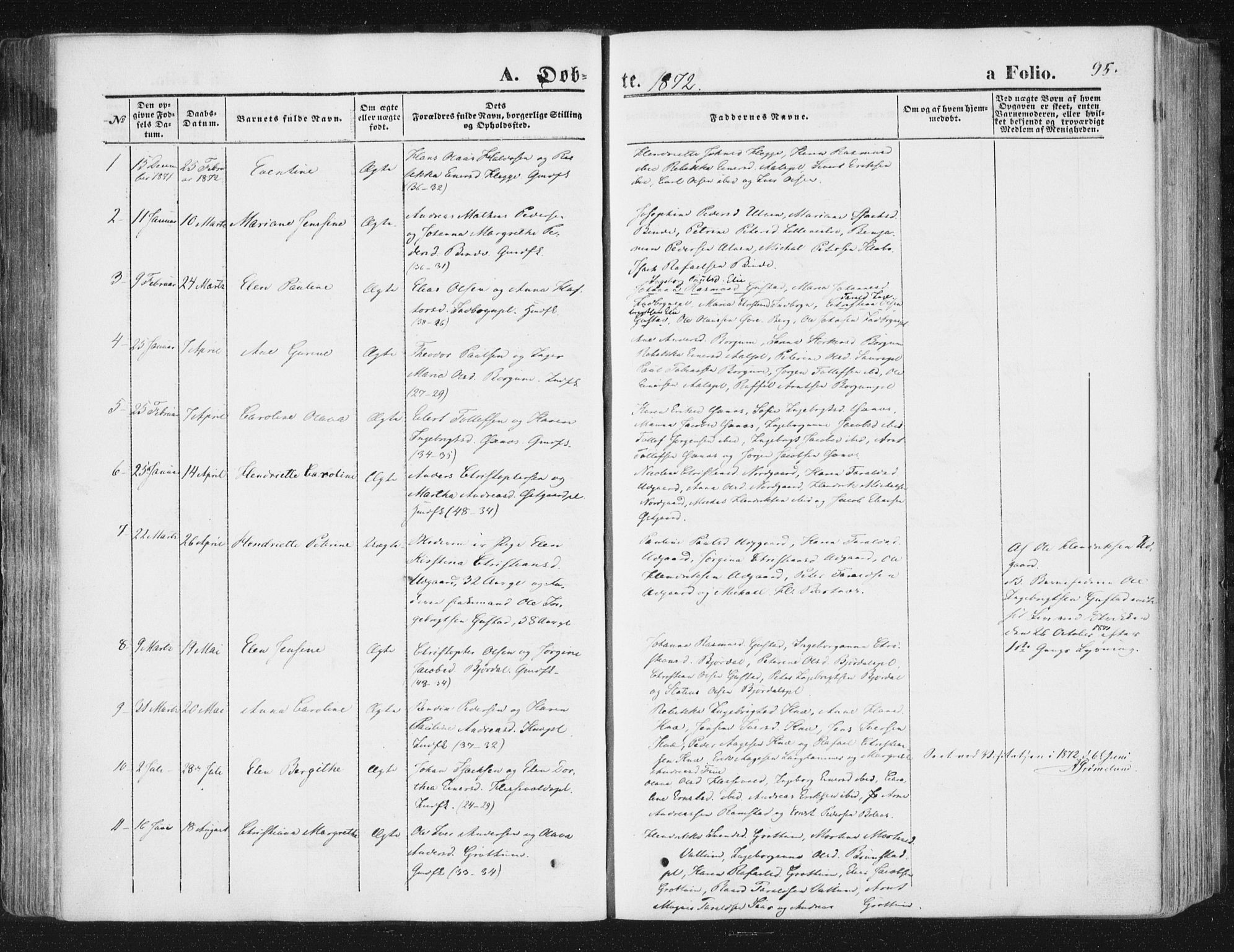 SAT, Ministerialprotokoller, klokkerbøker og fødselsregistre - Nord-Trøndelag, 746/L0447: Ministerialbok nr. 746A06, 1860-1877, s. 95
