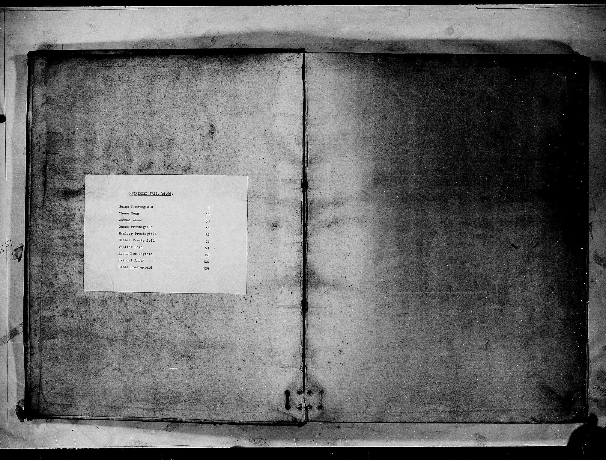 RA, Rentekammeret inntil 1814, Realistisk ordnet avdeling, N/Nb/Nbf/L0096: Moss, Onsøy, Tune og Veme matrikkelprotokoll, 1723, s. upaginert