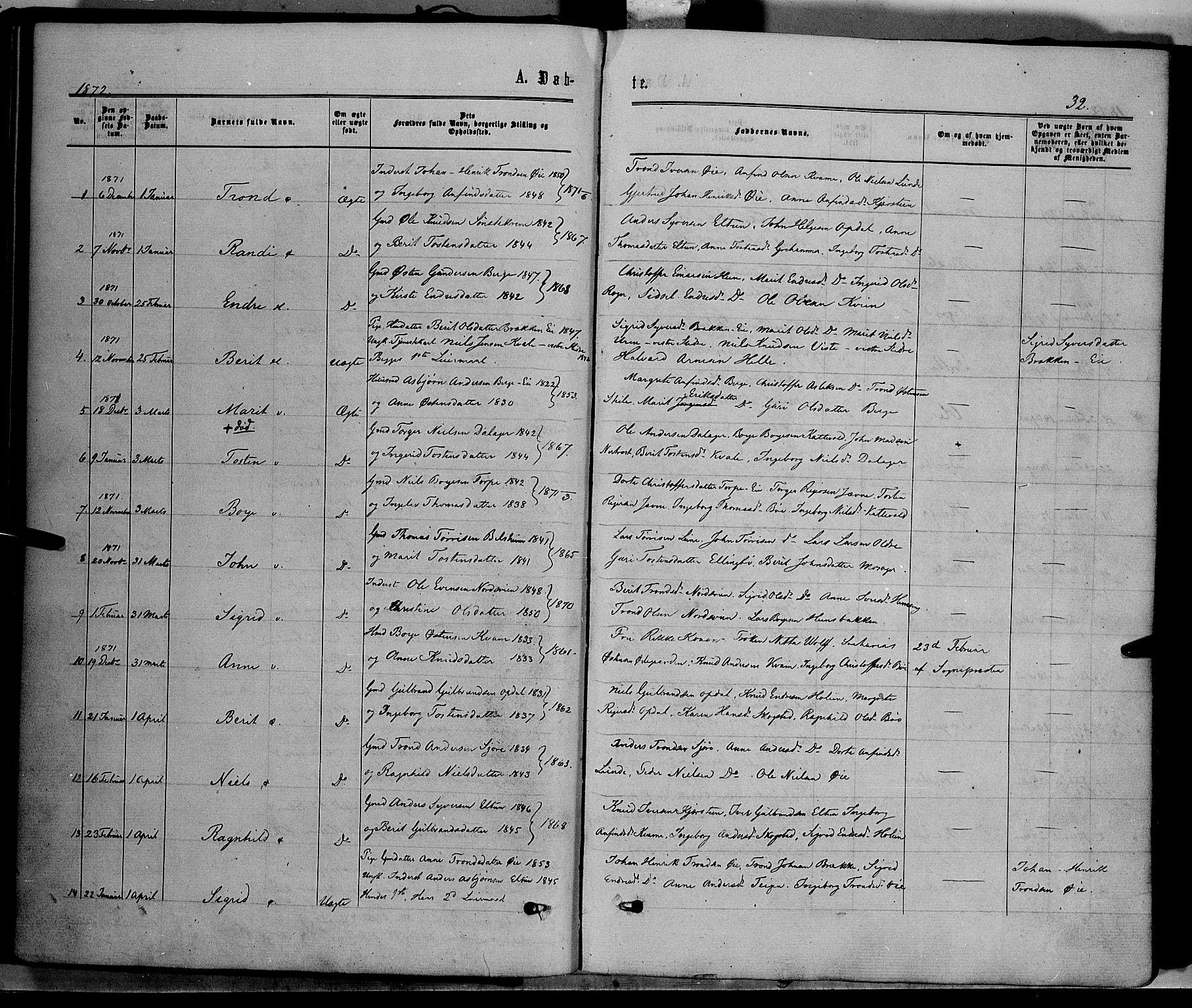 SAH, Vang prestekontor, Valdres, Ministerialbok nr. 7, 1865-1881, s. 32