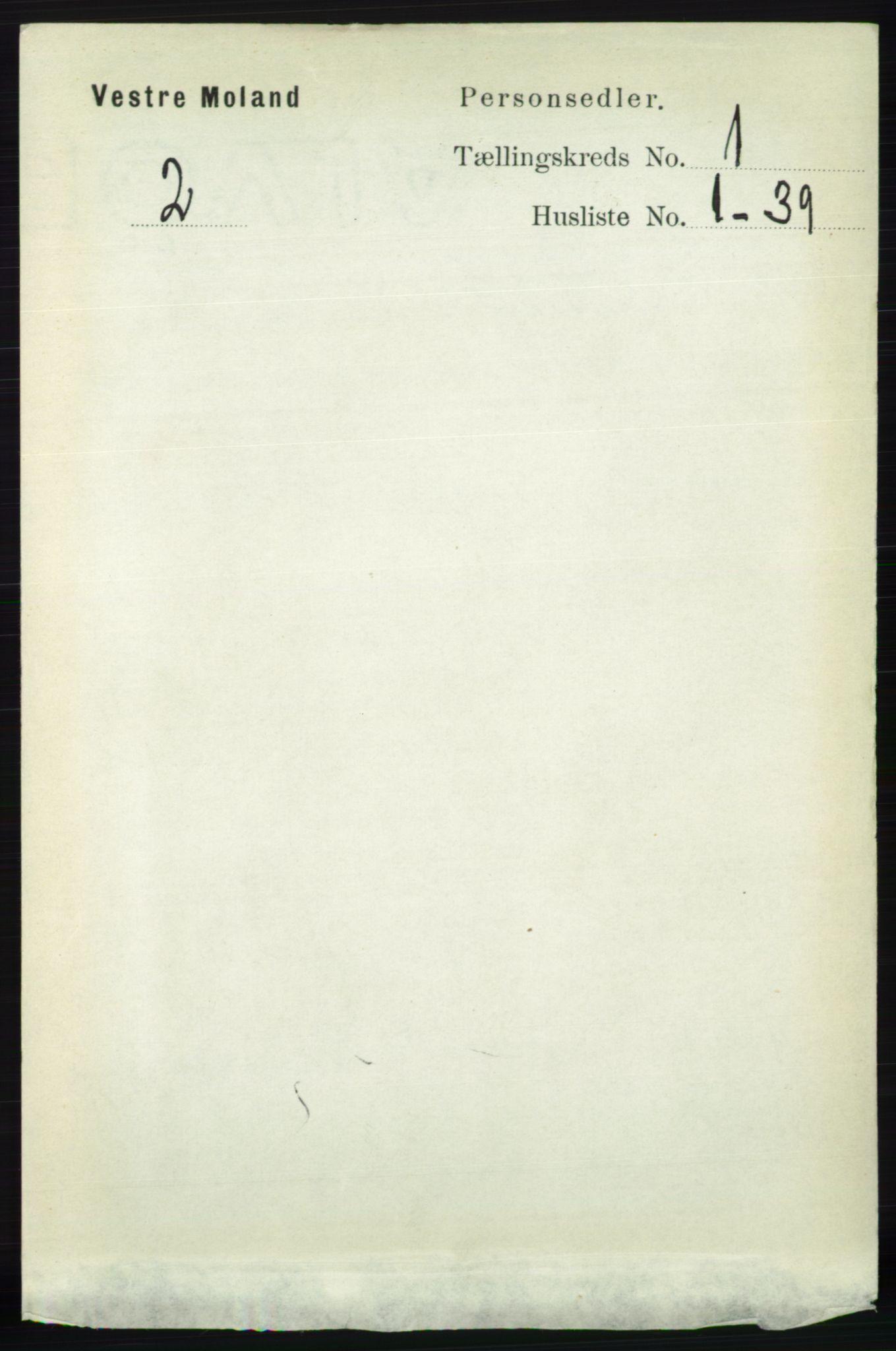 RA, Folketelling 1891 for 0926 Vestre Moland herred, 1891, s. 108