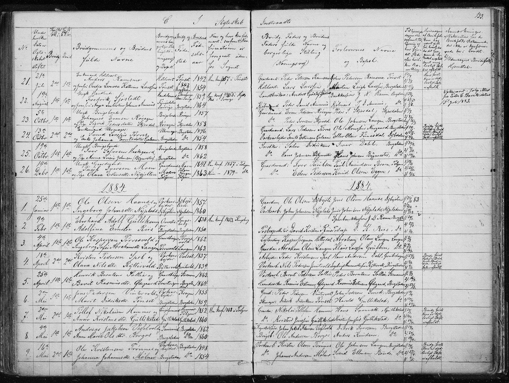 SAT, Ministerialprotokoller, klokkerbøker og fødselsregistre - Sør-Trøndelag, 681/L0940: Klokkerbok nr. 681C04, 1880-1895, s. 133