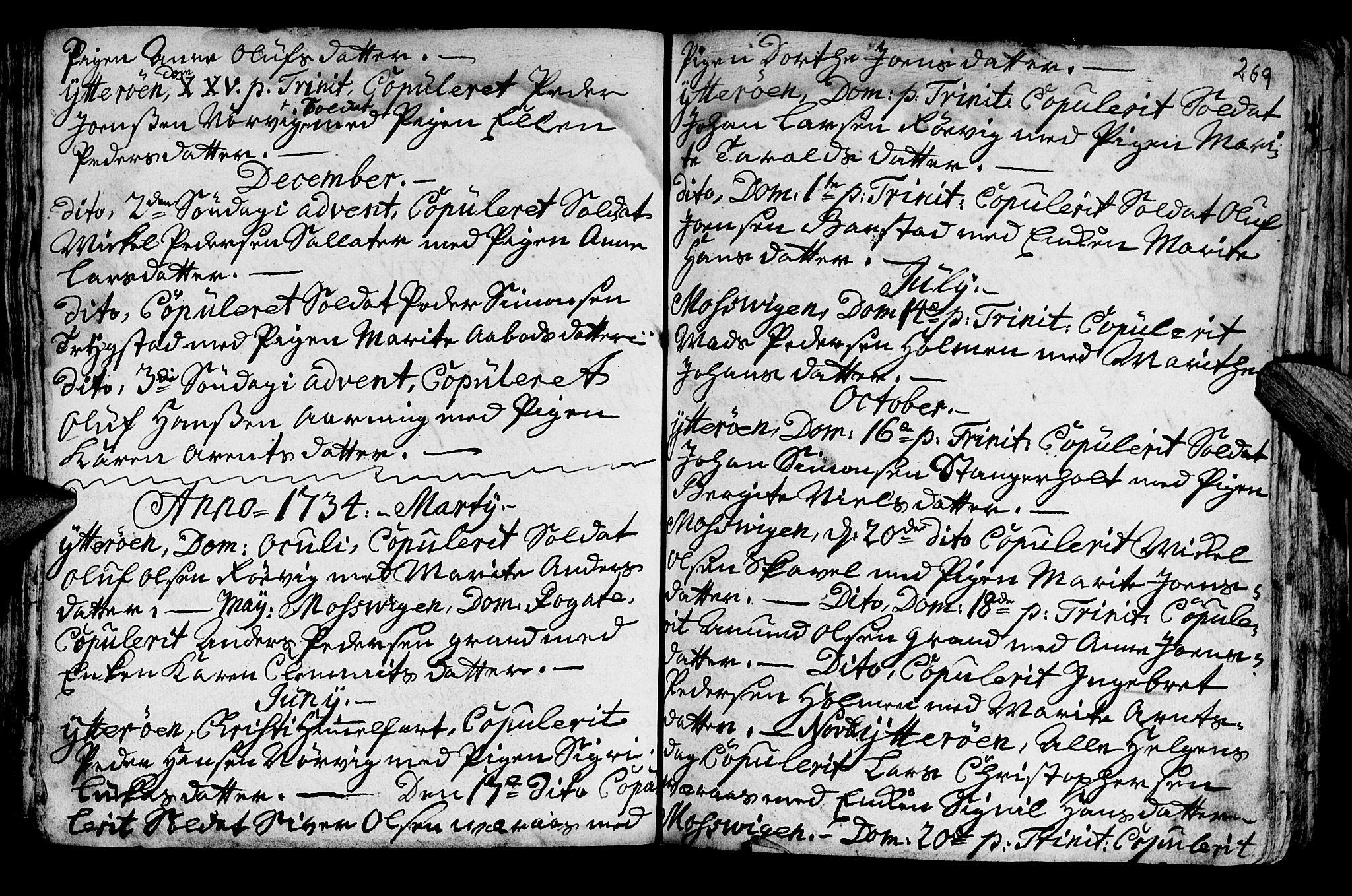 SAT, Ministerialprotokoller, klokkerbøker og fødselsregistre - Nord-Trøndelag, 722/L0215: Ministerialbok nr. 722A02, 1718-1755, s. 269