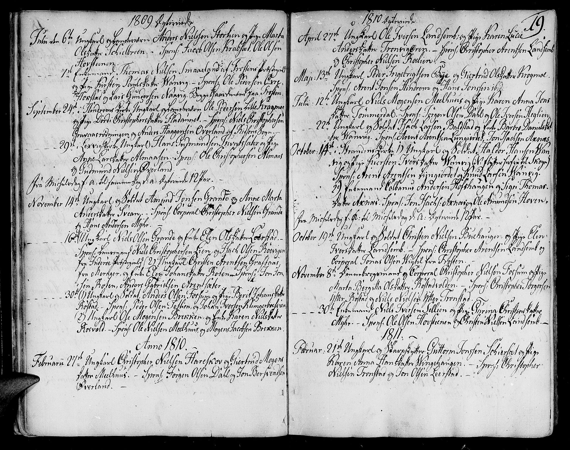 SAT, Ministerialprotokoller, klokkerbøker og fødselsregistre - Nord-Trøndelag, 701/L0004: Ministerialbok nr. 701A04, 1783-1816, s. 19