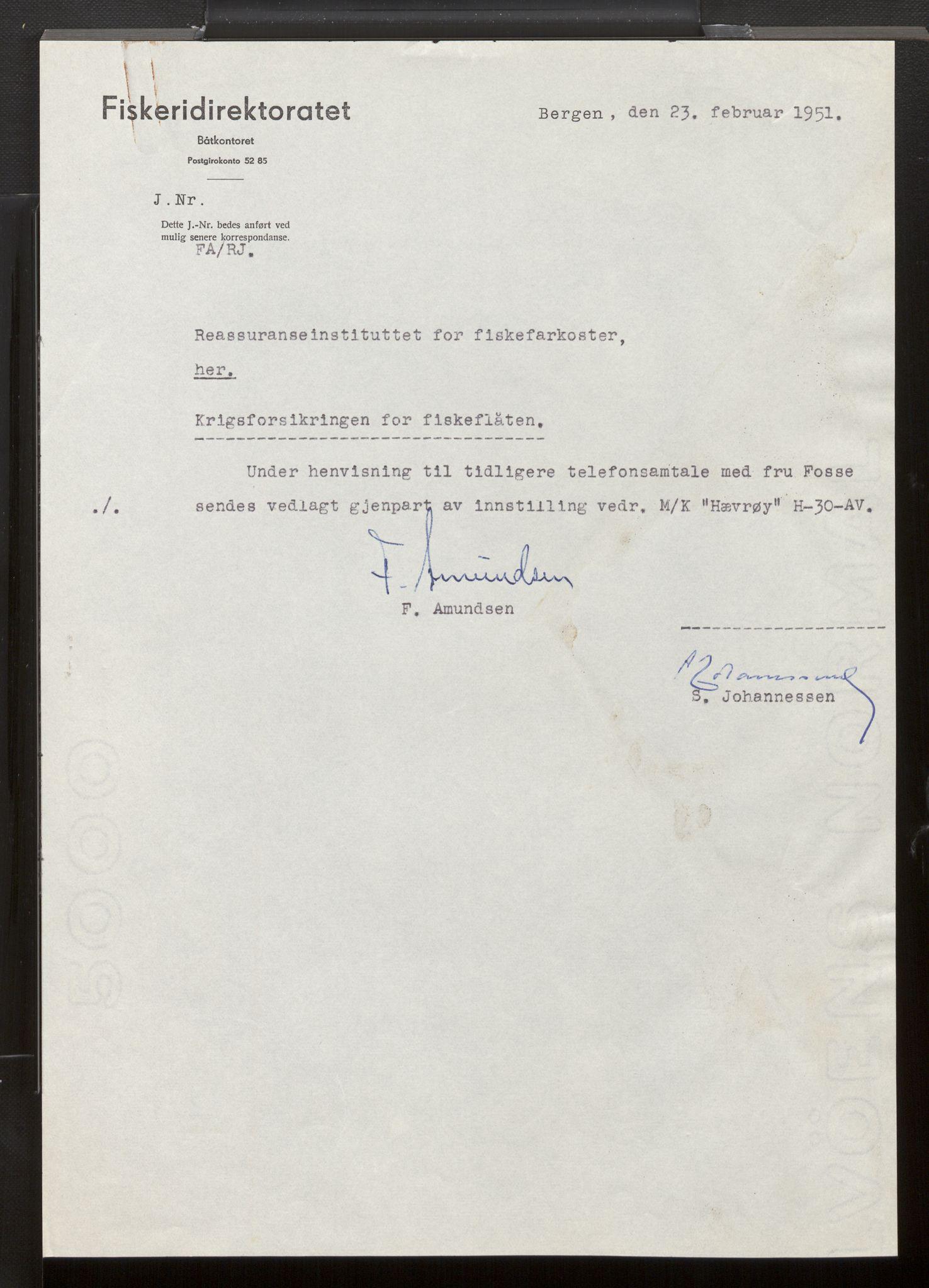 SAB, Fiskeridirektoratet - 1 Adm. ledelse - 13 Båtkontoret, La/L0042: Statens krigsforsikring for fiskeflåten, 1936-1971, s. 382