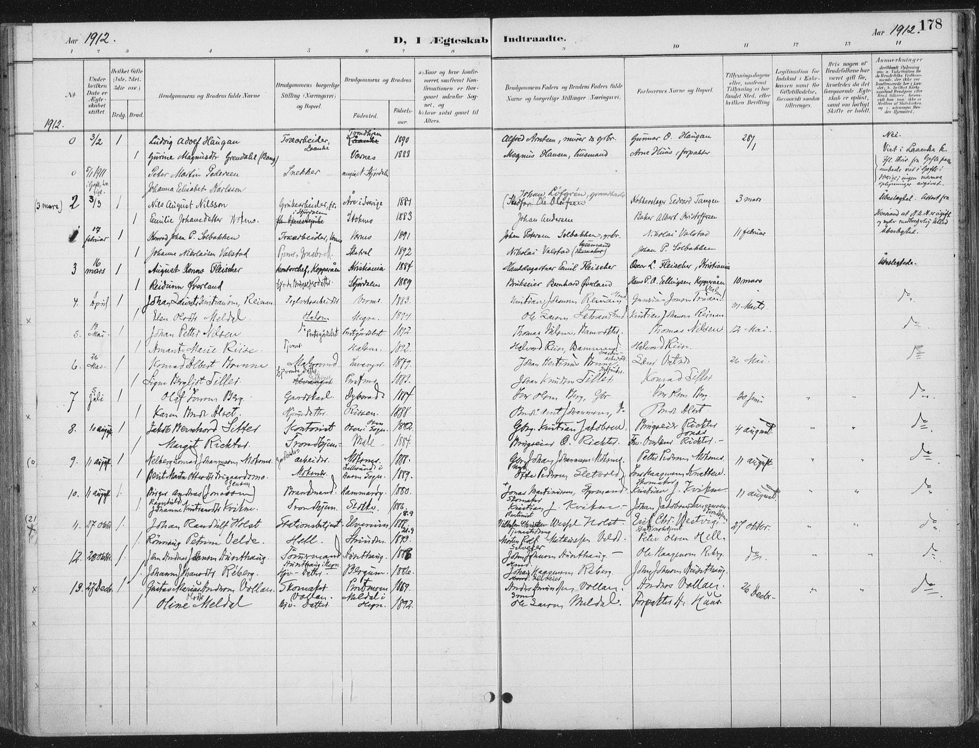 SAT, Ministerialprotokoller, klokkerbøker og fødselsregistre - Nord-Trøndelag, 709/L0082: Ministerialbok nr. 709A22, 1896-1916, s. 178
