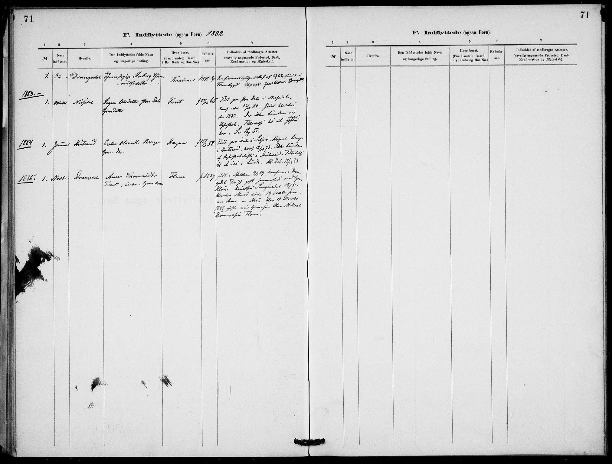 SAKO, Lunde kirkebøker, F/Fb/L0003: Ministerialbok nr. II 3, 1882-1891, s. 71