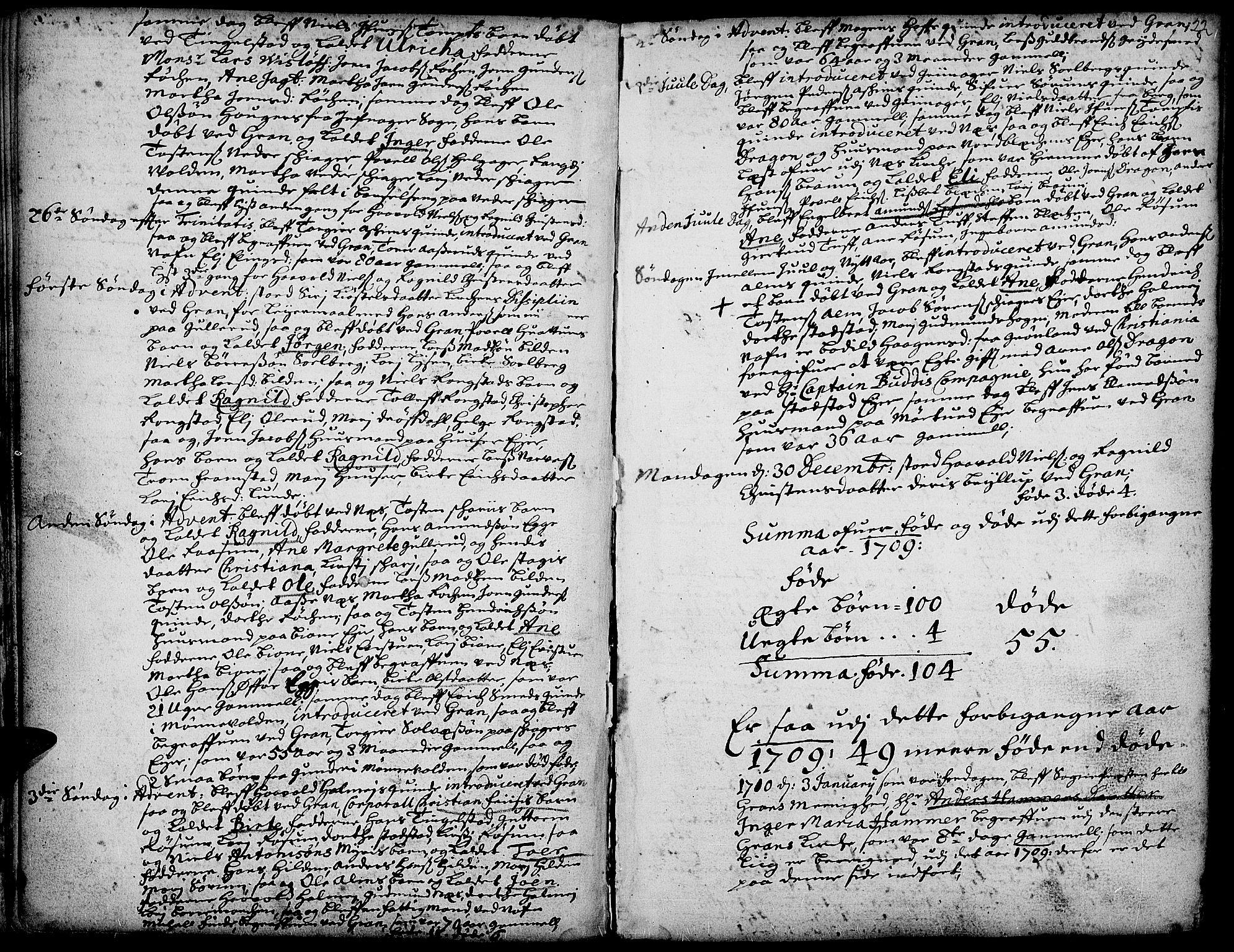 SAH, Gran prestekontor, Ministerialbok nr. 1, 1707-1731, s. 22