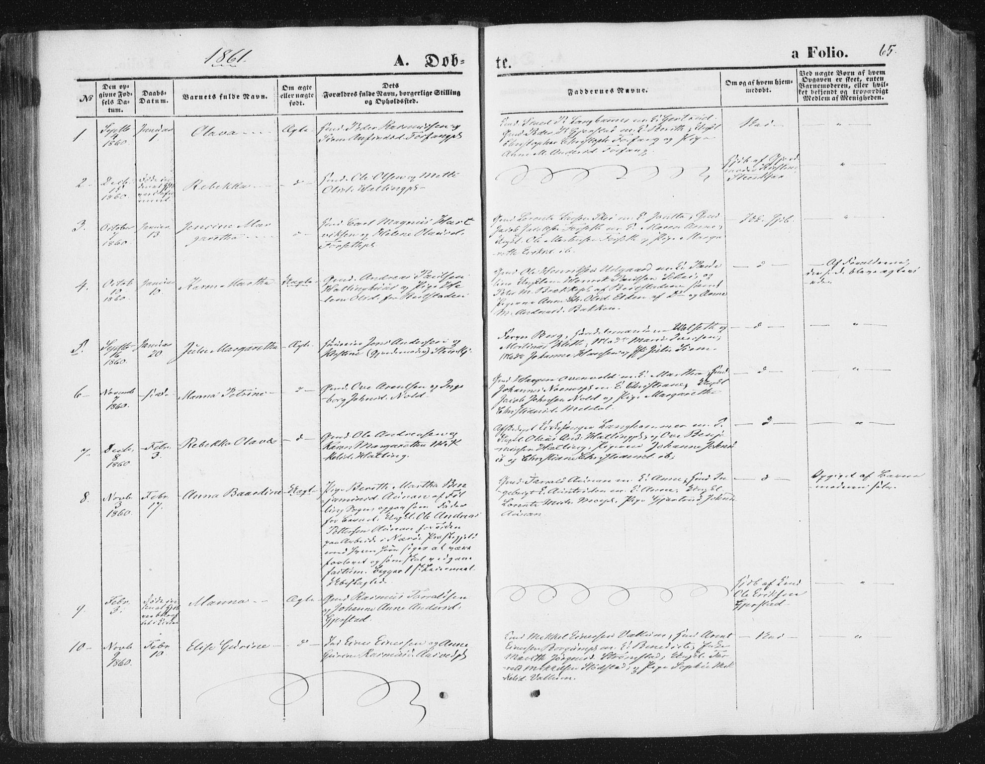 SAT, Ministerialprotokoller, klokkerbøker og fødselsregistre - Nord-Trøndelag, 746/L0447: Ministerialbok nr. 746A06, 1860-1877, s. 65