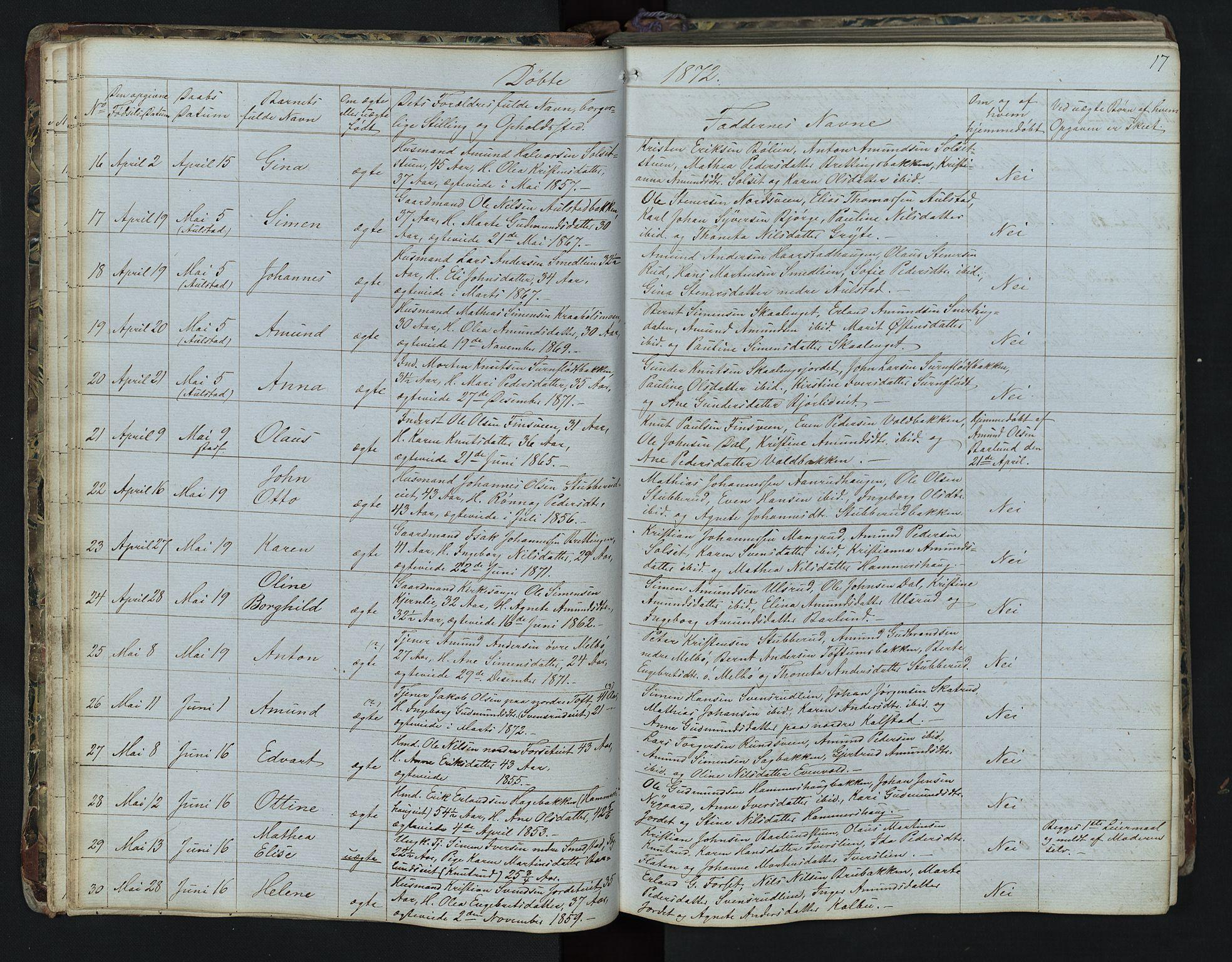 SAH, Vestre Gausdal prestekontor, Klokkerbok nr. 1, 1867-1895, s. 17