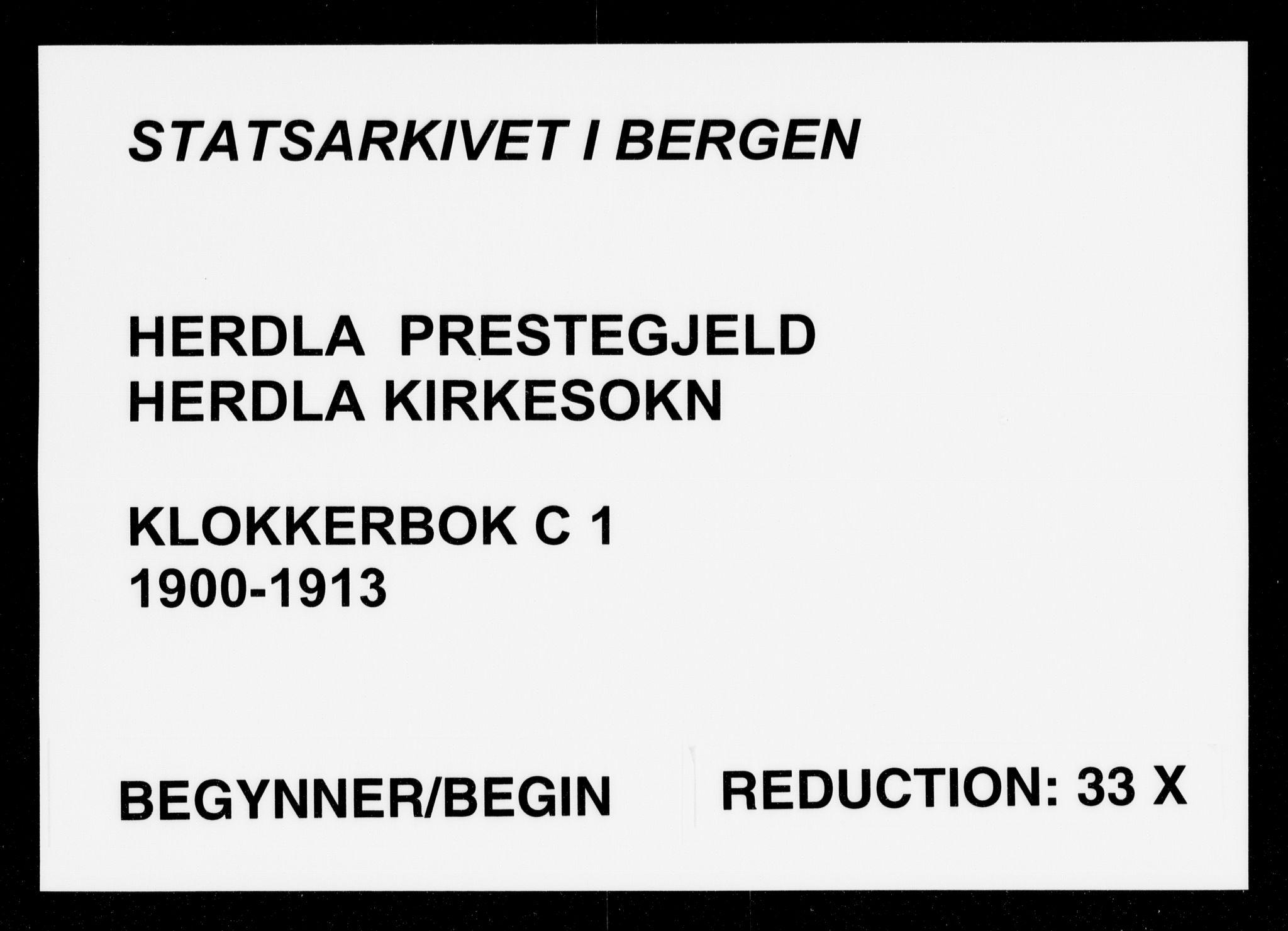 SAB, Herdla Sokneprestembete, H/Hab: Klokkerbok nr. C 1, 1900-1913