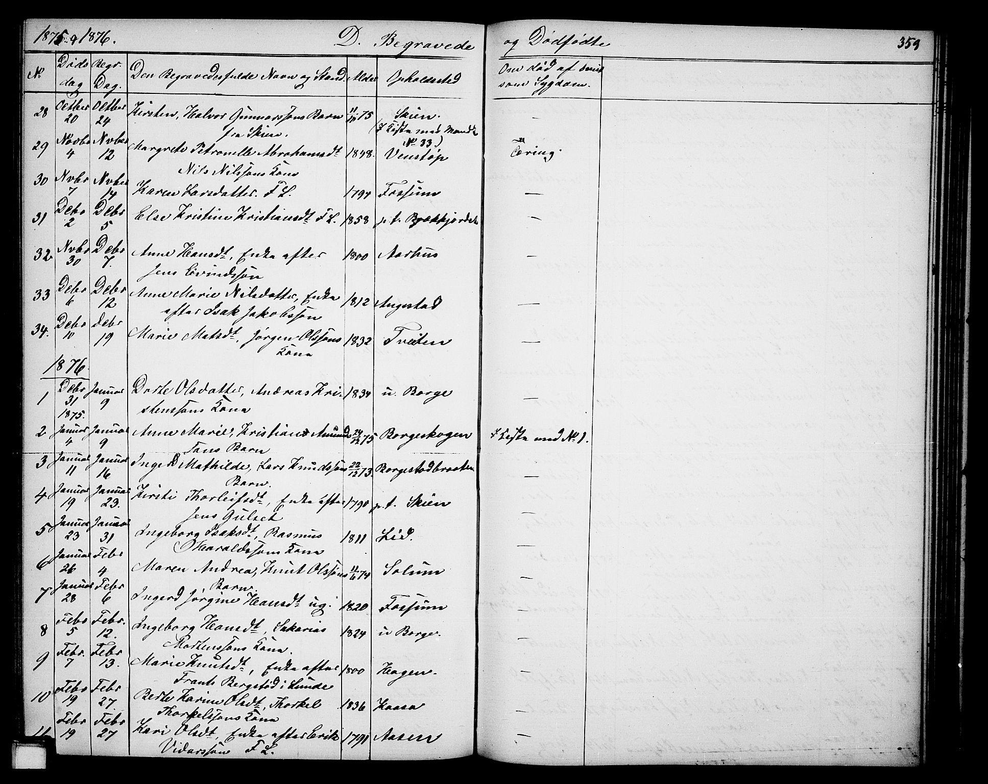 SAKO, Gjerpen kirkebøker, G/Ga/L0001: Klokkerbok nr. I 1, 1864-1882, s. 359