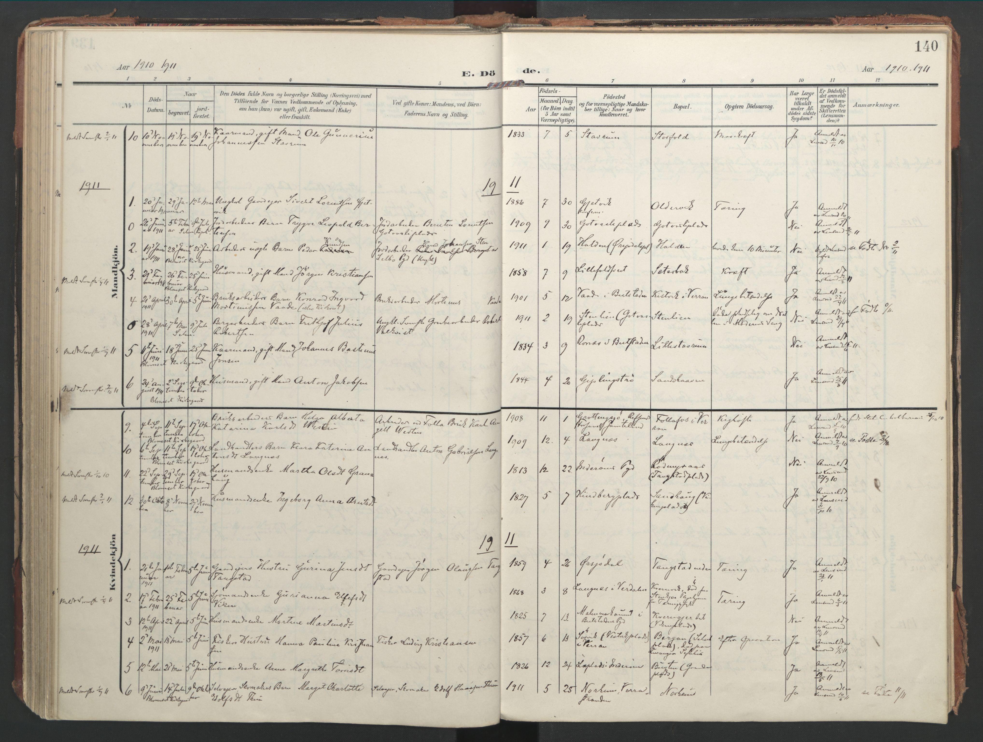 SAT, Ministerialprotokoller, klokkerbøker og fødselsregistre - Nord-Trøndelag, 744/L0421: Ministerialbok nr. 744A05, 1905-1930, s. 140