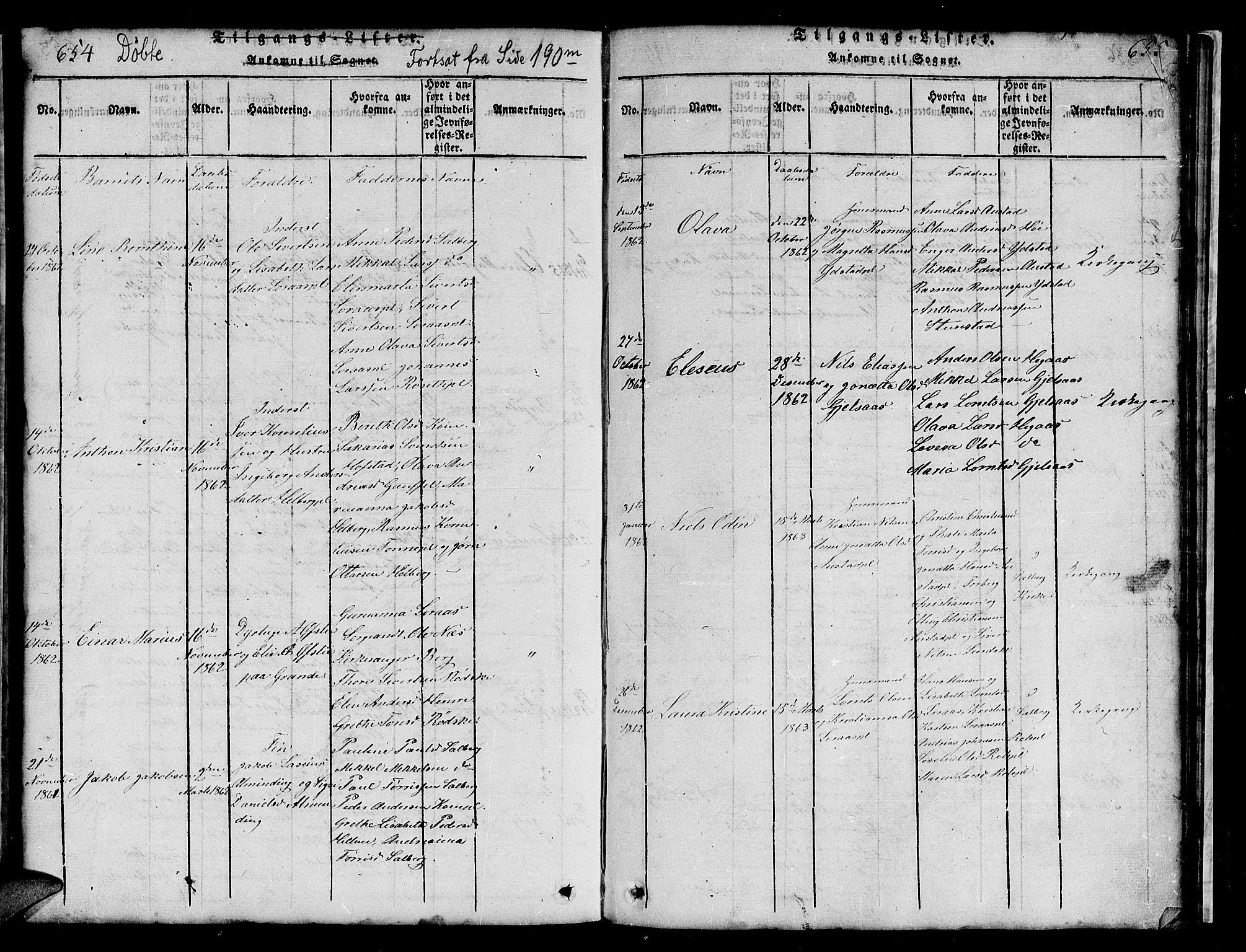 SAT, Ministerialprotokoller, klokkerbøker og fødselsregistre - Nord-Trøndelag, 731/L0310: Klokkerbok nr. 731C01, 1816-1874, s. 654-655