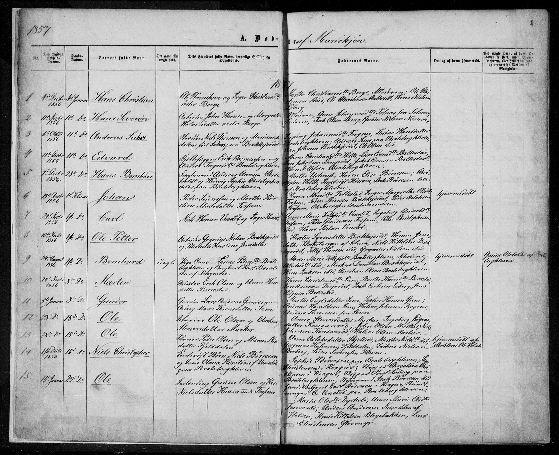 SAKO, Gjerpen kirkebøker, F/Fa/L0008a: Ministerialbok nr. 8A, 1857-1871, s. 1