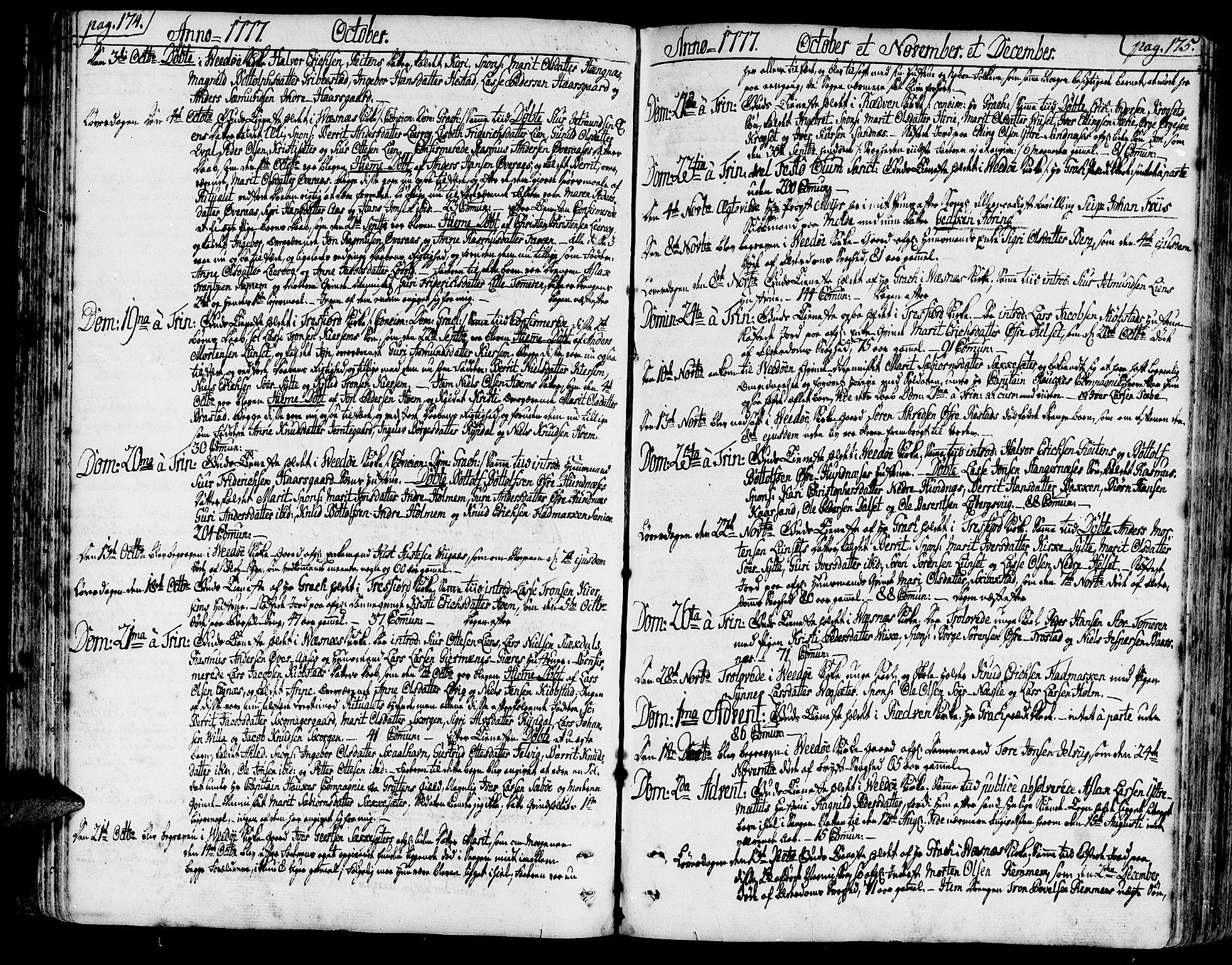 SAT, Ministerialprotokoller, klokkerbøker og fødselsregistre - Møre og Romsdal, 547/L0600: Ministerialbok nr. 547A02, 1765-1799, s. 174-175
