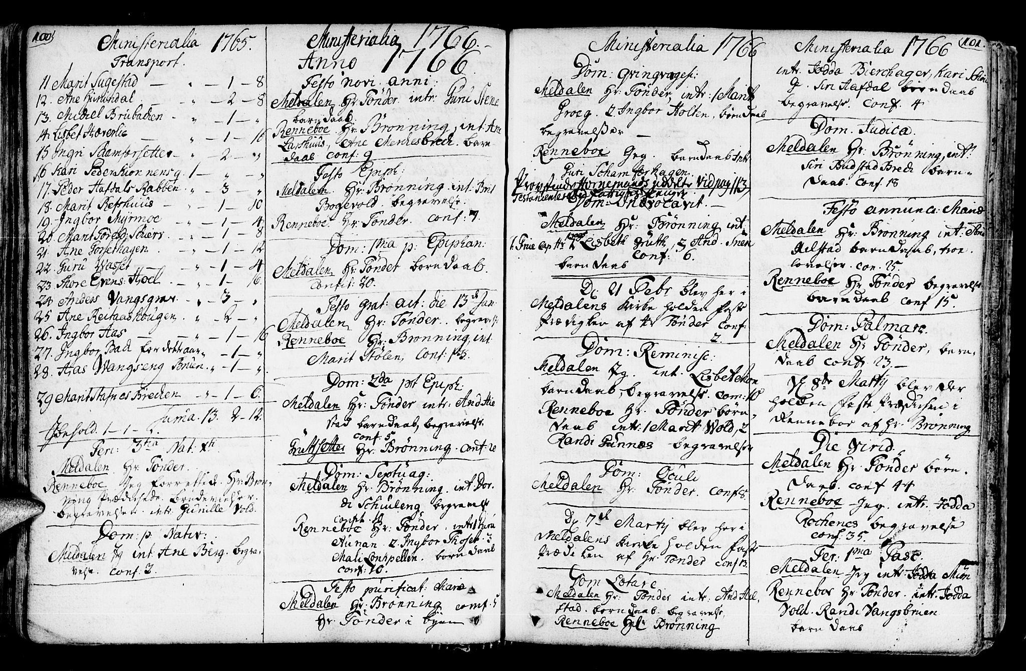 SAT, Ministerialprotokoller, klokkerbøker og fødselsregistre - Sør-Trøndelag, 672/L0851: Ministerialbok nr. 672A04, 1751-1775, s. 100-101