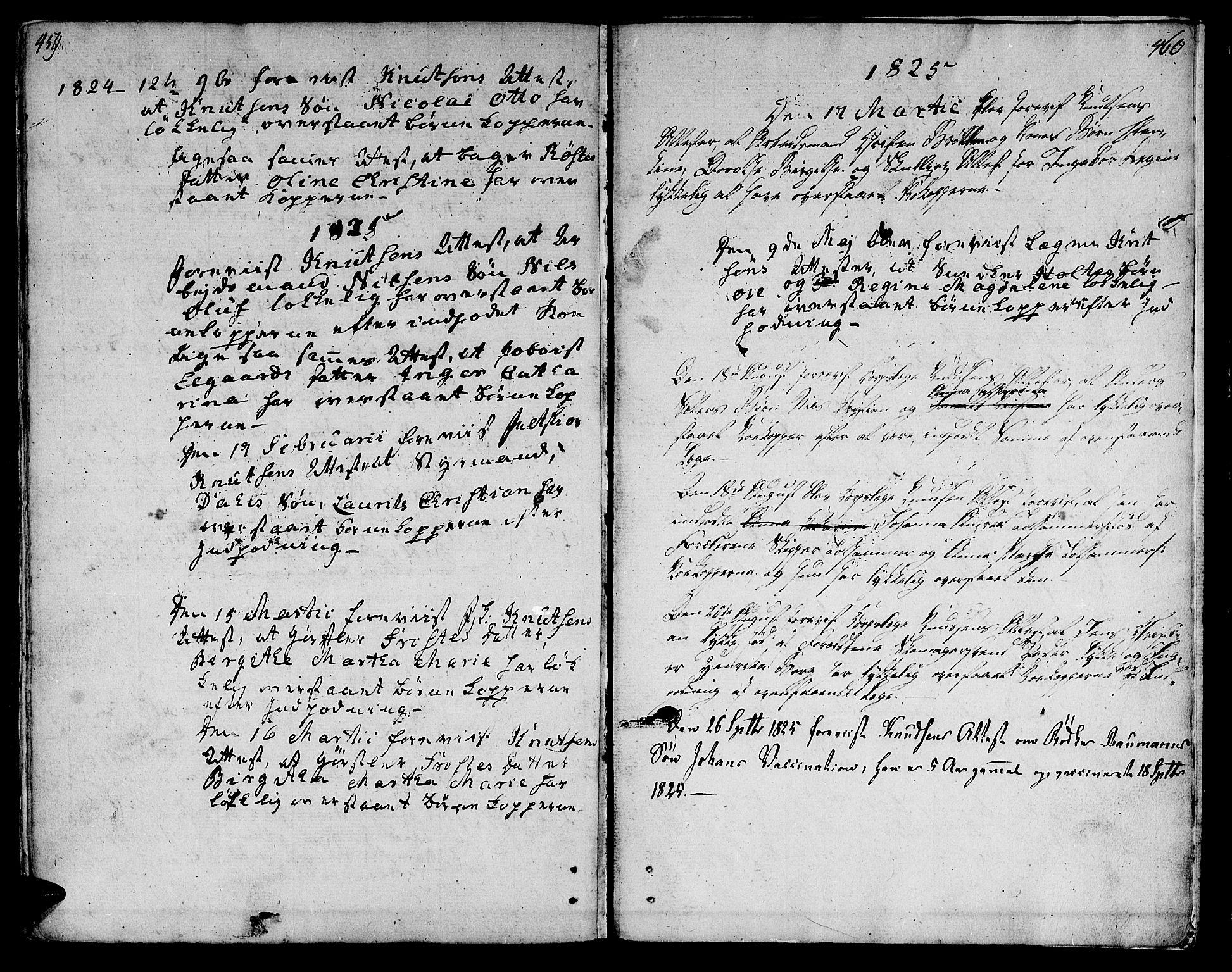 SAT, Ministerialprotokoller, klokkerbøker og fødselsregistre - Sør-Trøndelag, 601/L0042: Ministerialbok nr. 601A10, 1802-1830, s. 459-460