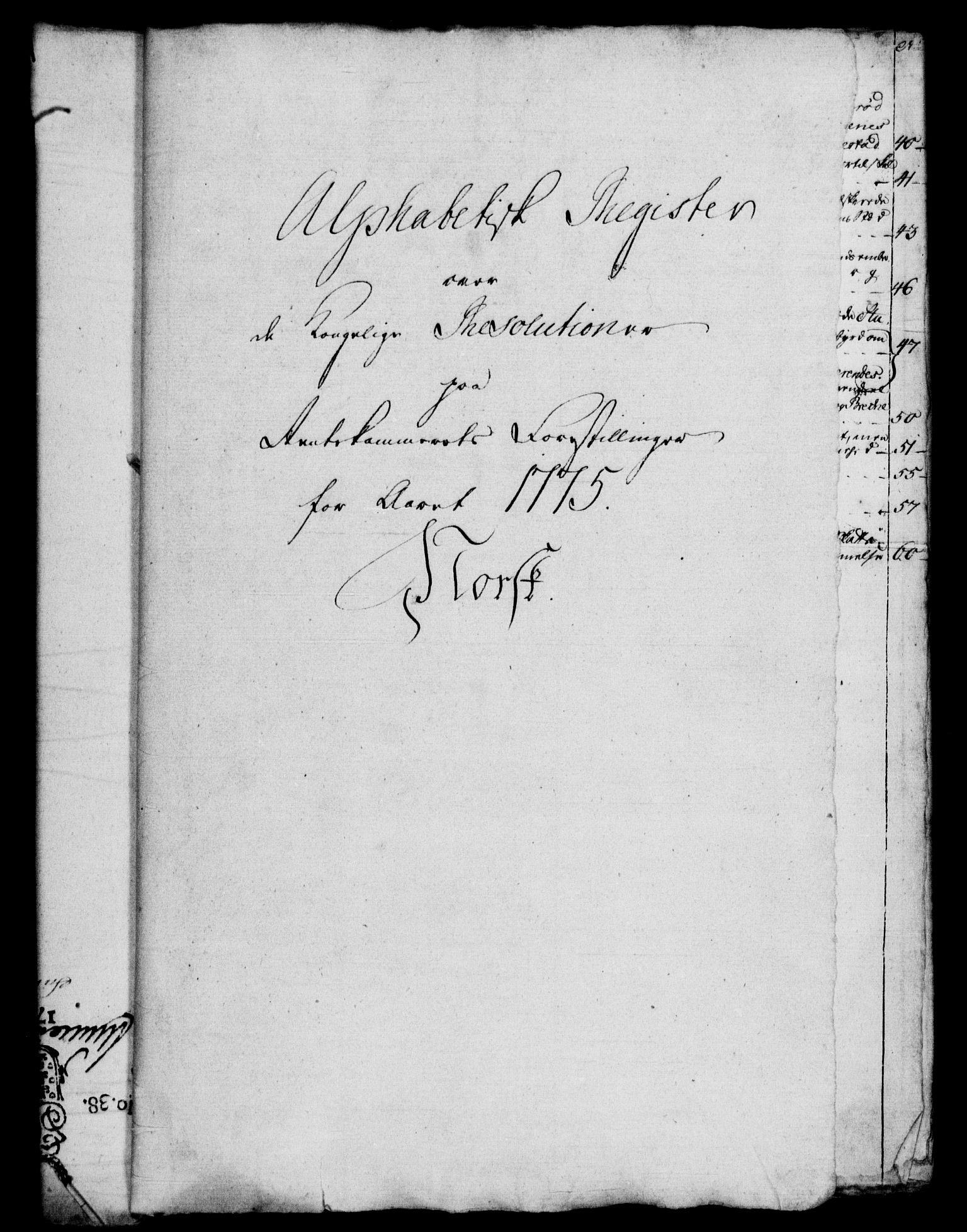RA, Rentekammeret, Kammerkanselliet, G/Gf/Gfb/L0010: Register til norske relasjons- og resolusjonsprotokoller (merket RK 52.105), 1775-1780, s. 2