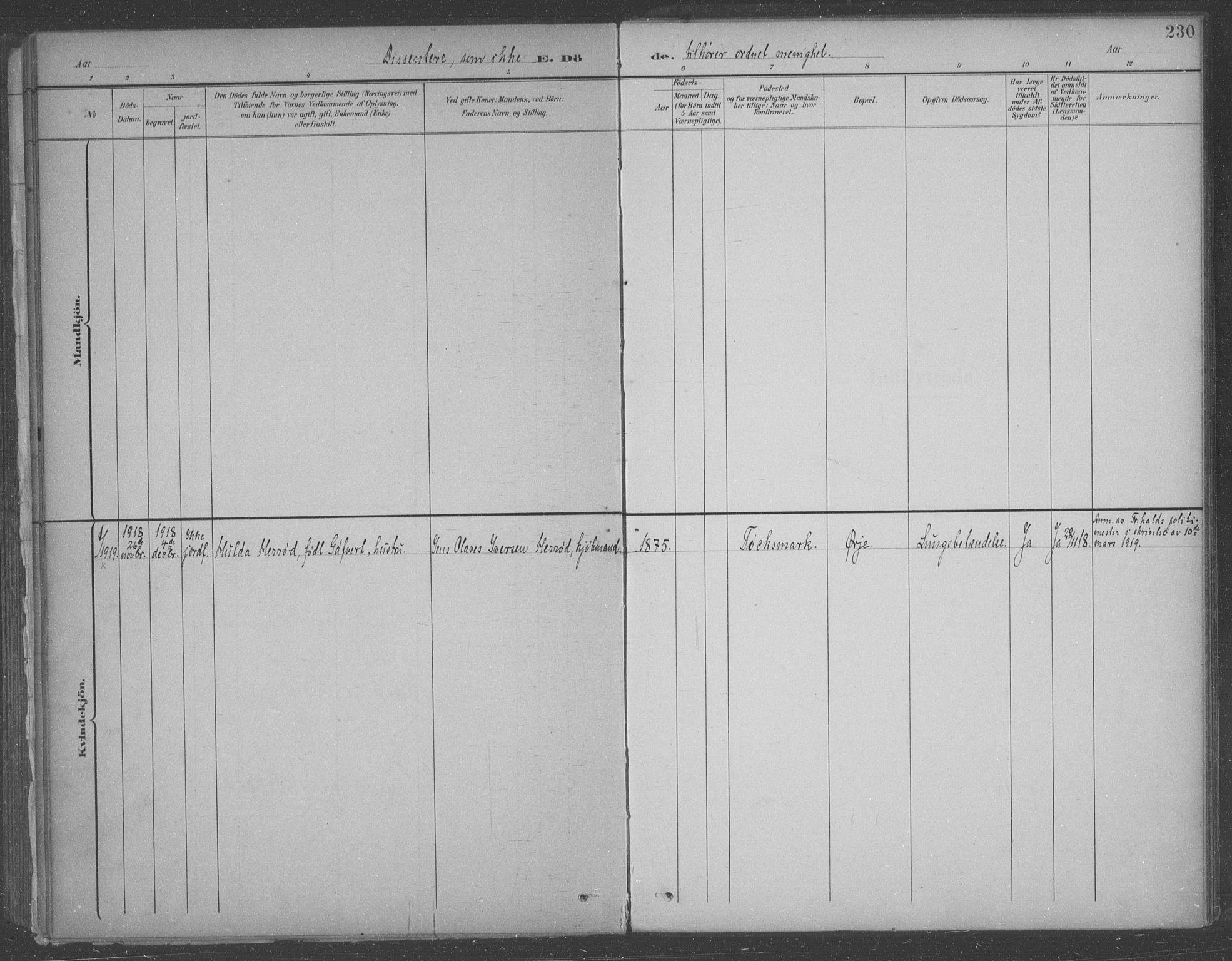 SAO, Aremark prestekontor Kirkebøker, F/Fb/L0005: Ministerialbok nr. II 5, 1895-1919, s. 230