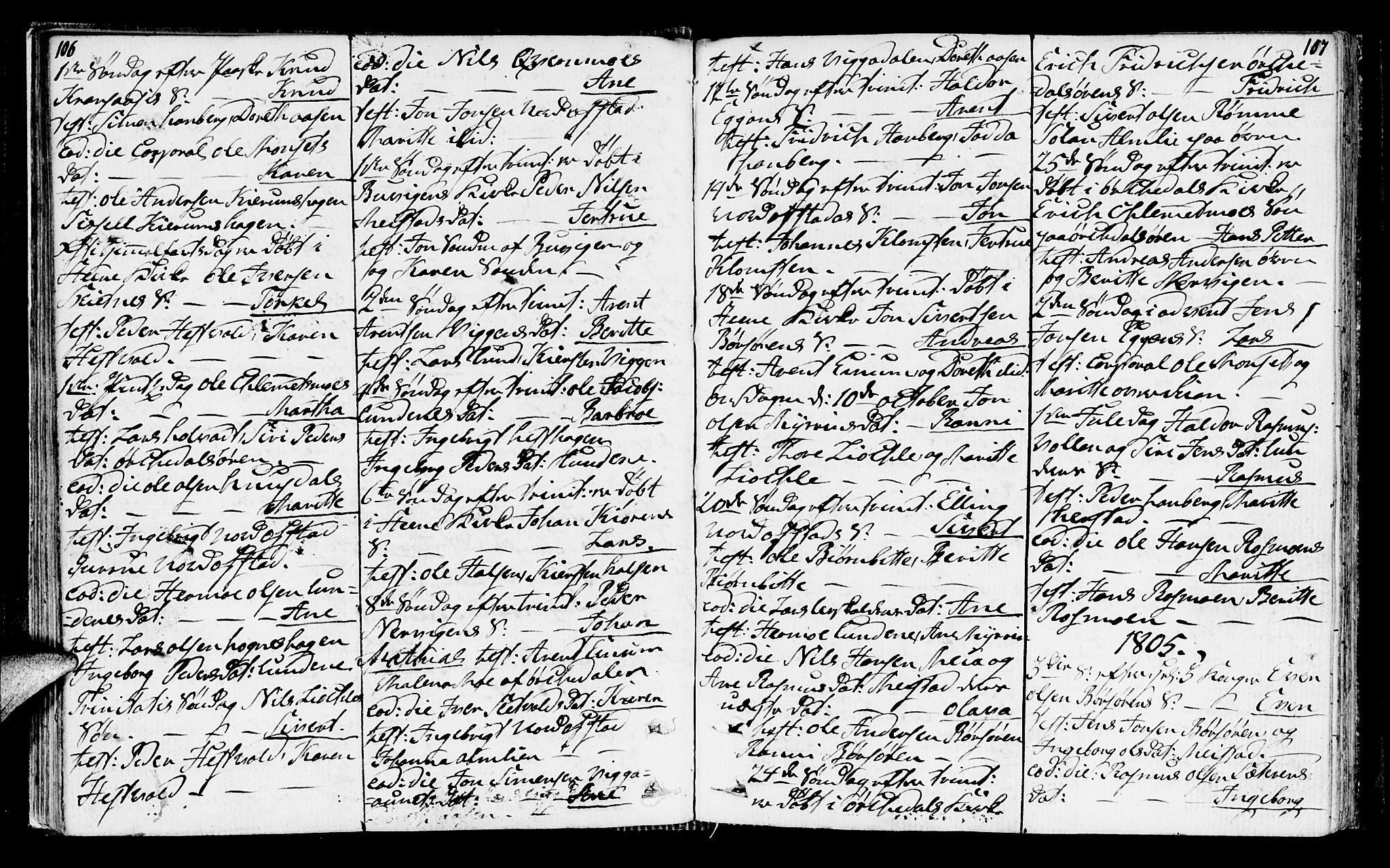SAT, Ministerialprotokoller, klokkerbøker og fødselsregistre - Sør-Trøndelag, 665/L0769: Ministerialbok nr. 665A04, 1803-1816, s. 106-107