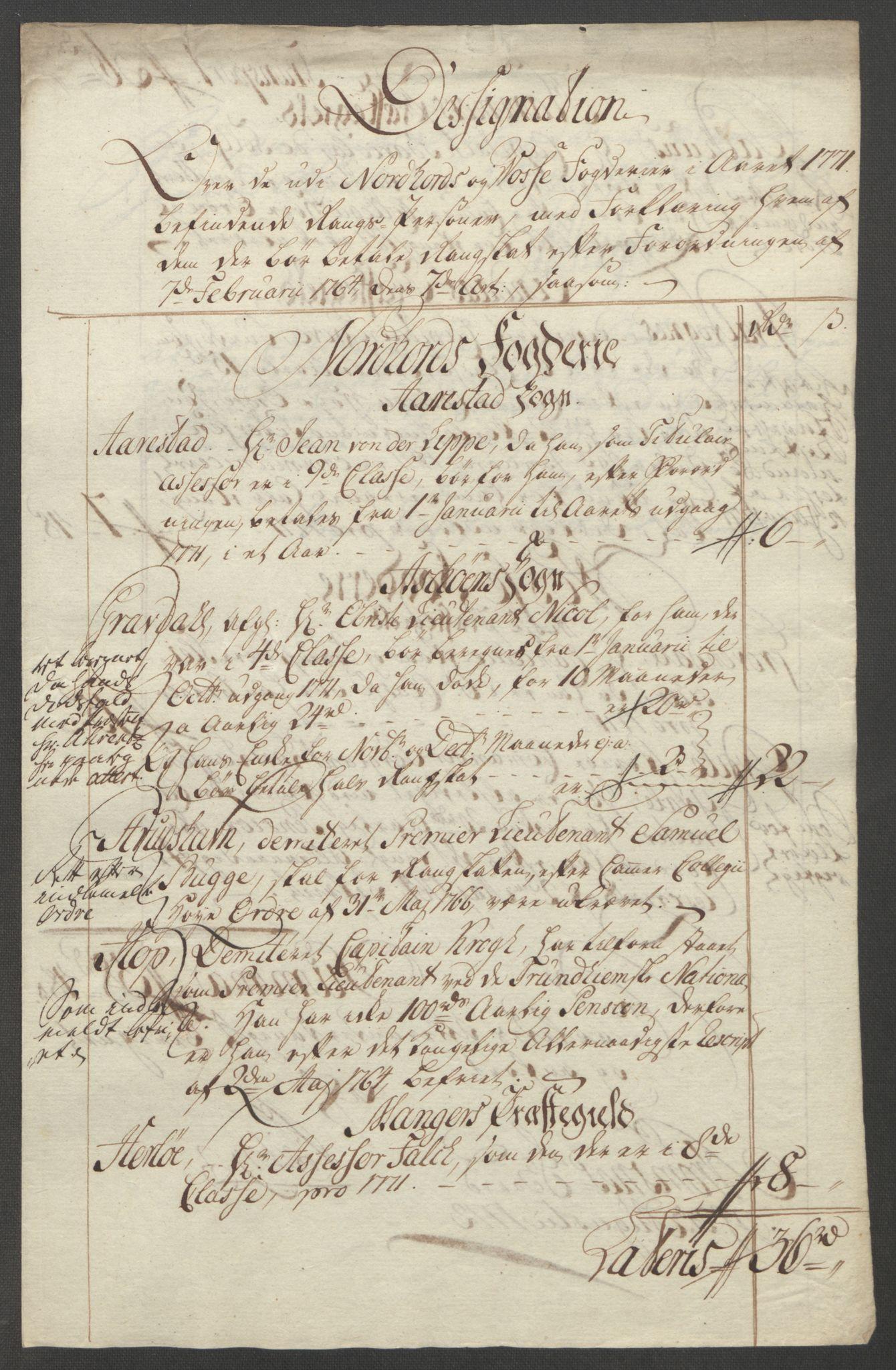 RA, Rentekammeret inntil 1814, Reviderte regnskaper, Fogderegnskap, R51/L3303: Ekstraskatten Nordhordland og Voss, 1762-1772, s. 598