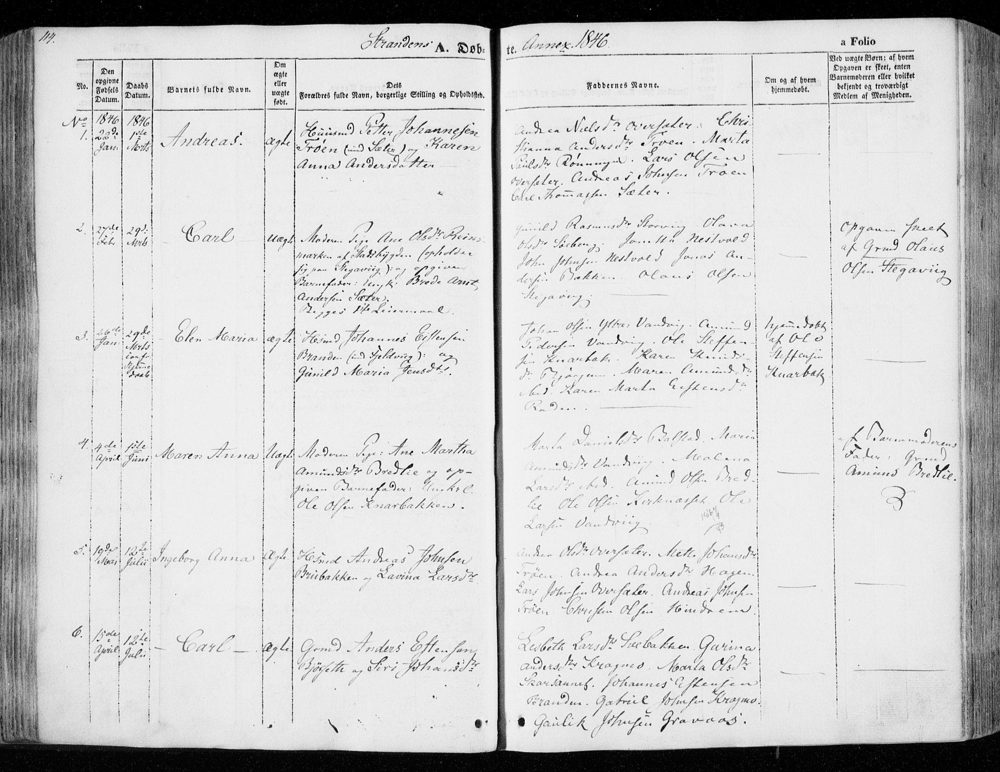 SAT, Ministerialprotokoller, klokkerbøker og fødselsregistre - Nord-Trøndelag, 701/L0007: Ministerialbok nr. 701A07 /2, 1842-1854, s. 114