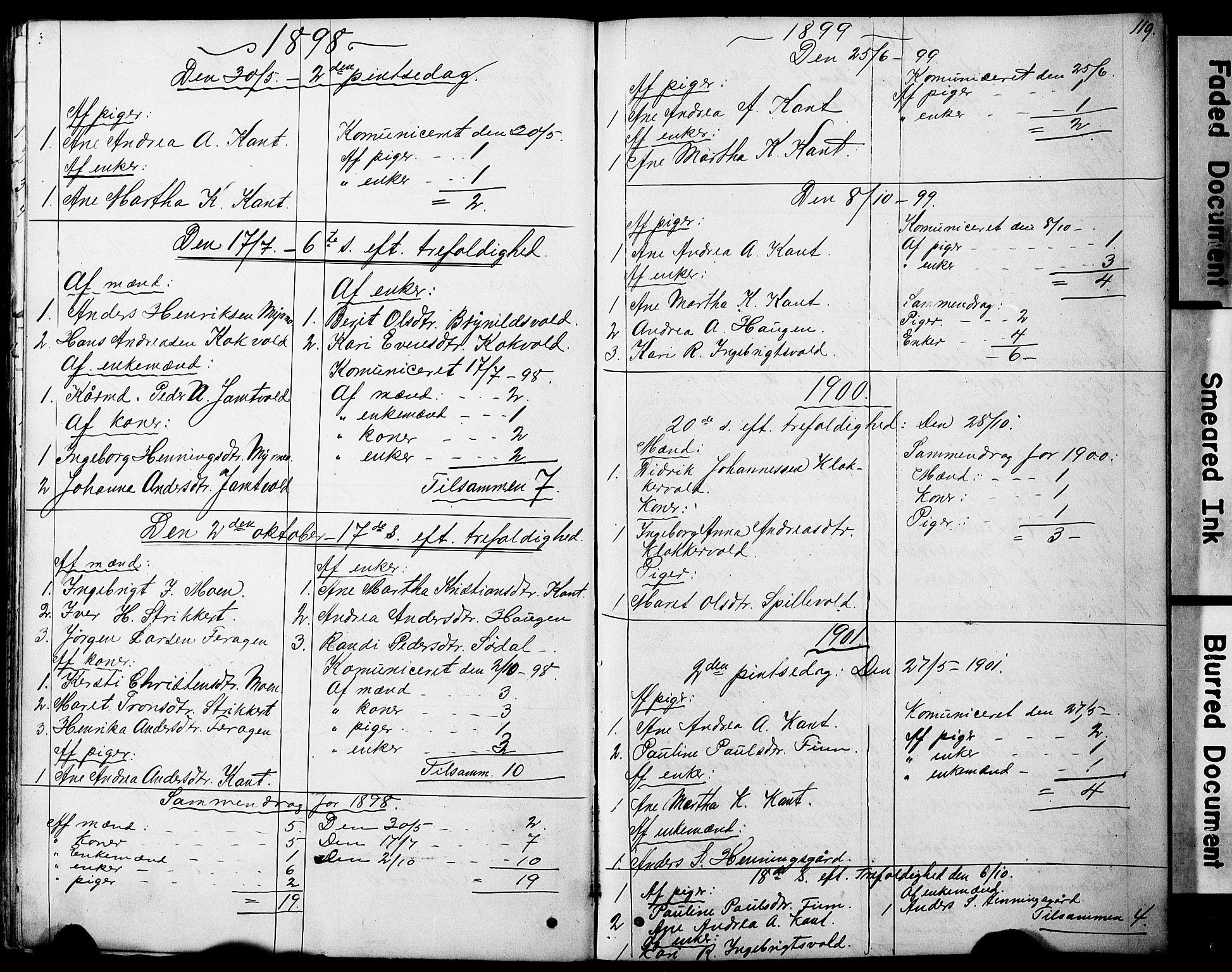 SAT, Ministerialprotokoller, klokkerbøker og fødselsregistre - Sør-Trøndelag, 683/L0949: Klokkerbok nr. 683C01, 1880-1896, s. 119