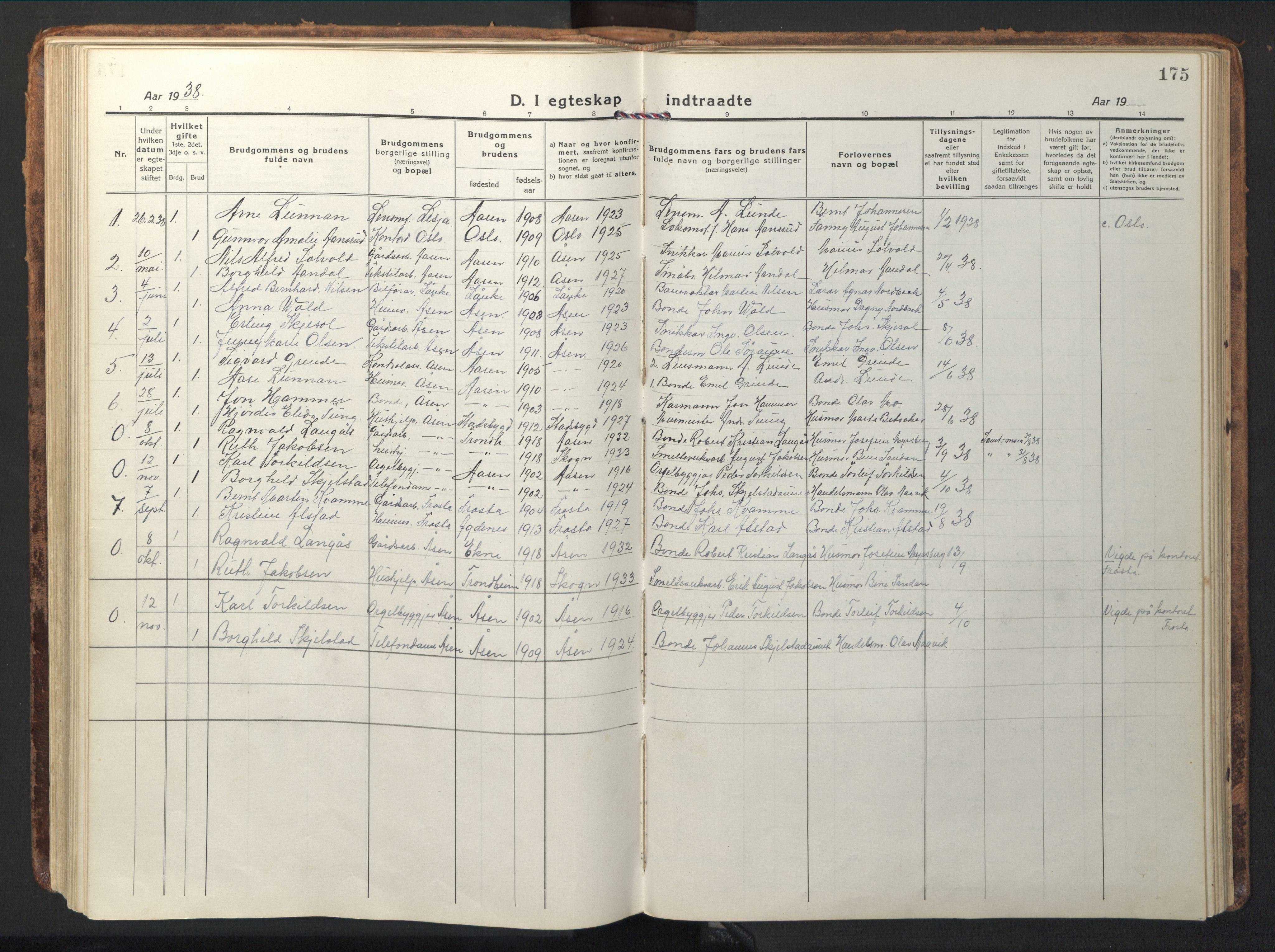 SAT, Ministerialprotokoller, klokkerbøker og fødselsregistre - Nord-Trøndelag, 714/L0136: Klokkerbok nr. 714C05, 1918-1957, s. 175
