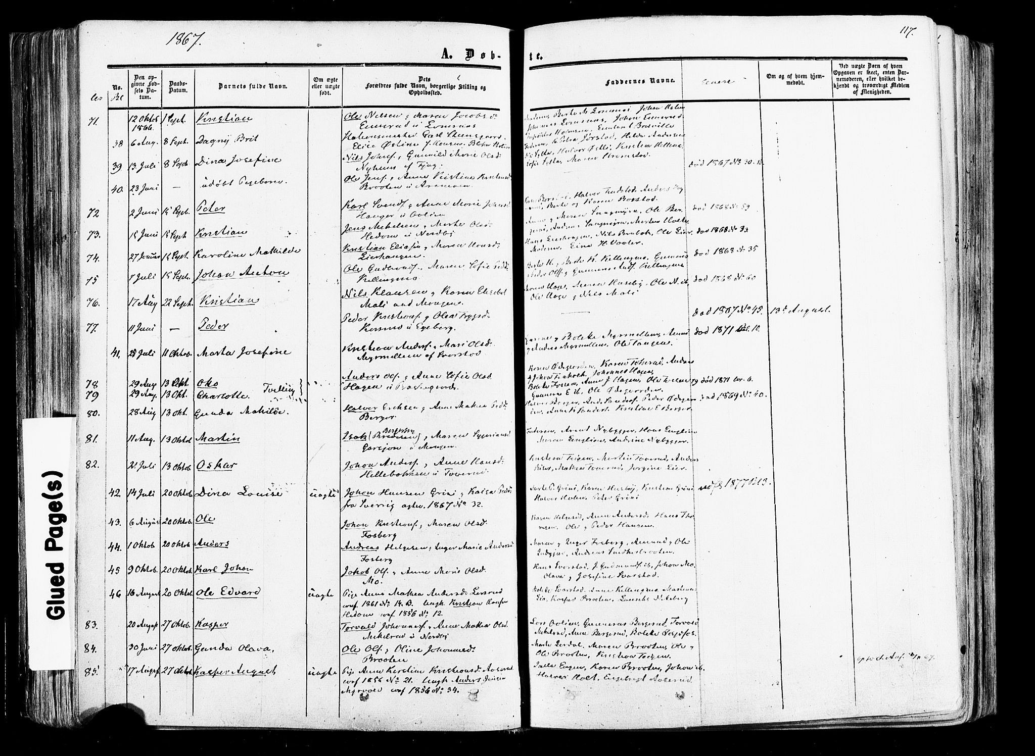 SAO, Aurskog prestekontor Kirkebøker, F/Fa/L0007: Ministerialbok nr. I 7, 1854-1877, s. 117