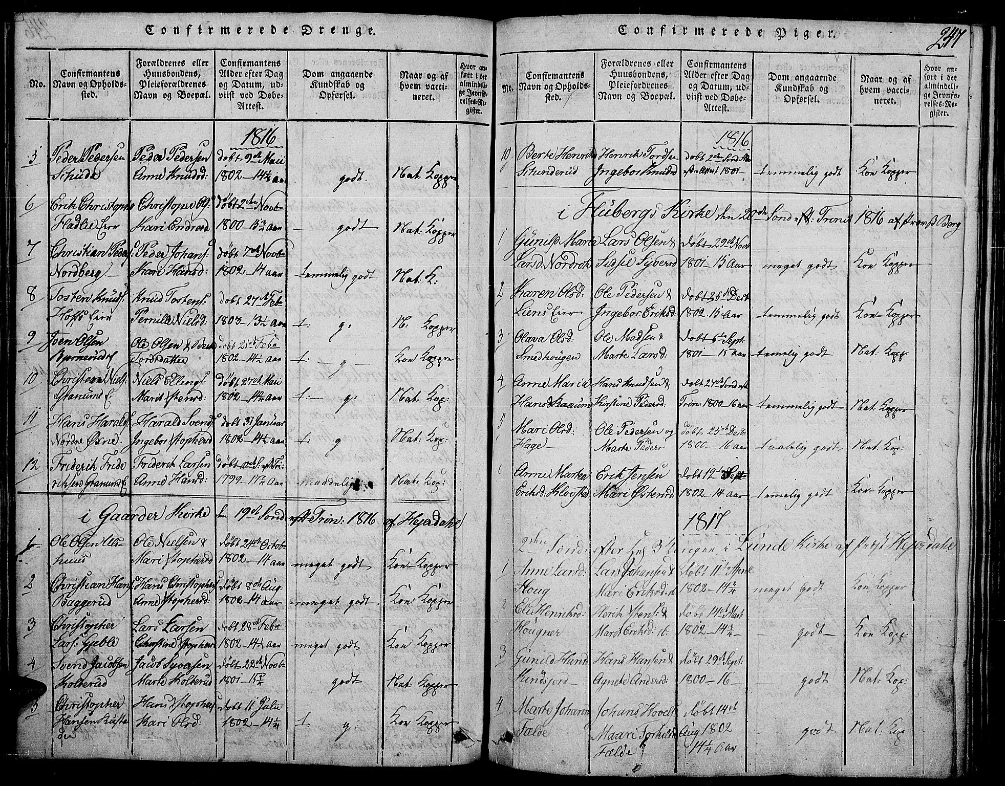 SAH, Land prestekontor, Ministerialbok nr. 7, 1814-1830, s. 247