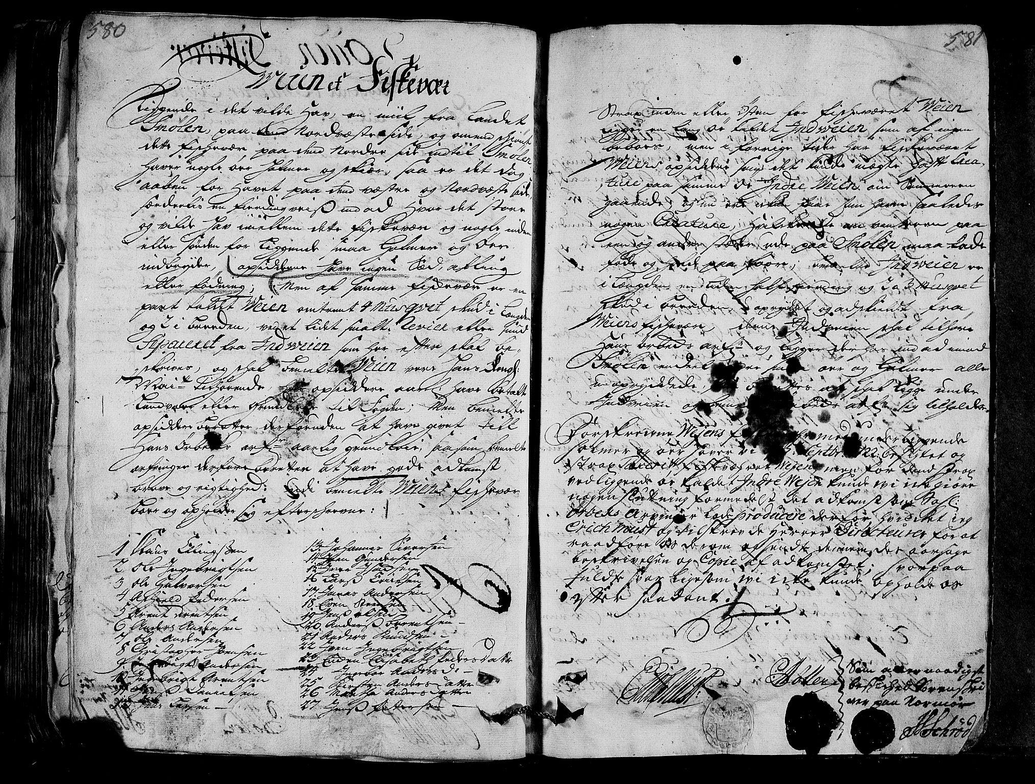 RA, Rentekammeret inntil 1814, Realistisk ordnet avdeling, N/Nb/Nbf/L0154: Nordmøre eksaminasjonsprotokoll, 1721-1723, s. 580-581