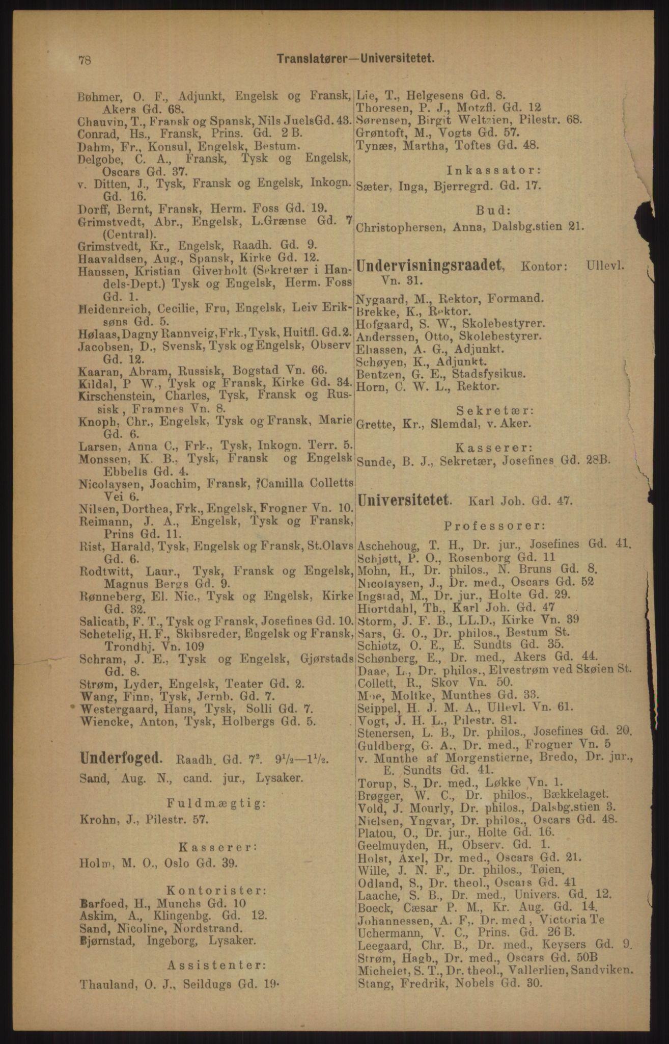 RA, Kristiania adressebok (publikasjon)*, 1905, s. 78