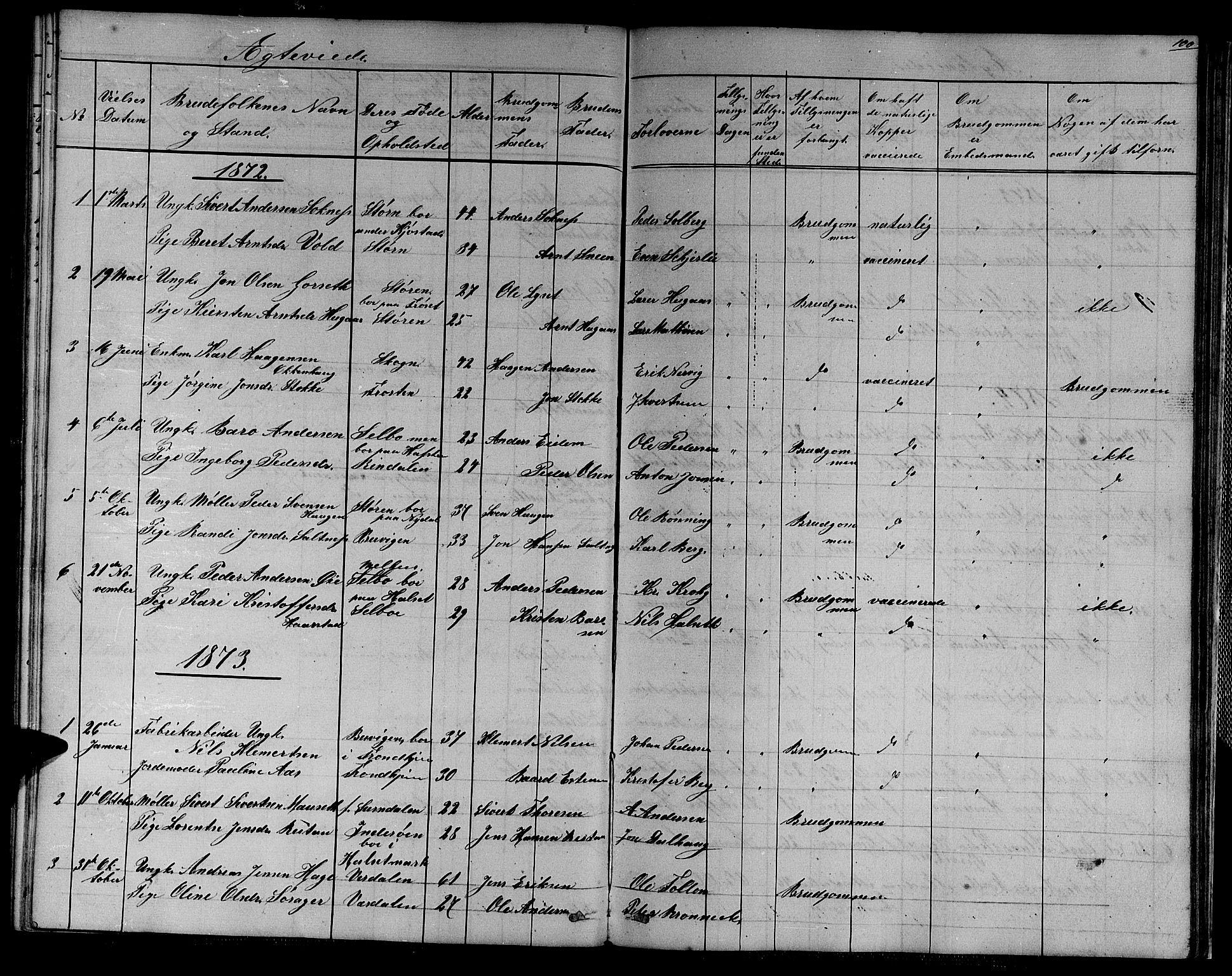 SAT, Ministerialprotokoller, klokkerbøker og fødselsregistre - Sør-Trøndelag, 611/L0353: Klokkerbok nr. 611C01, 1854-1881, s. 100