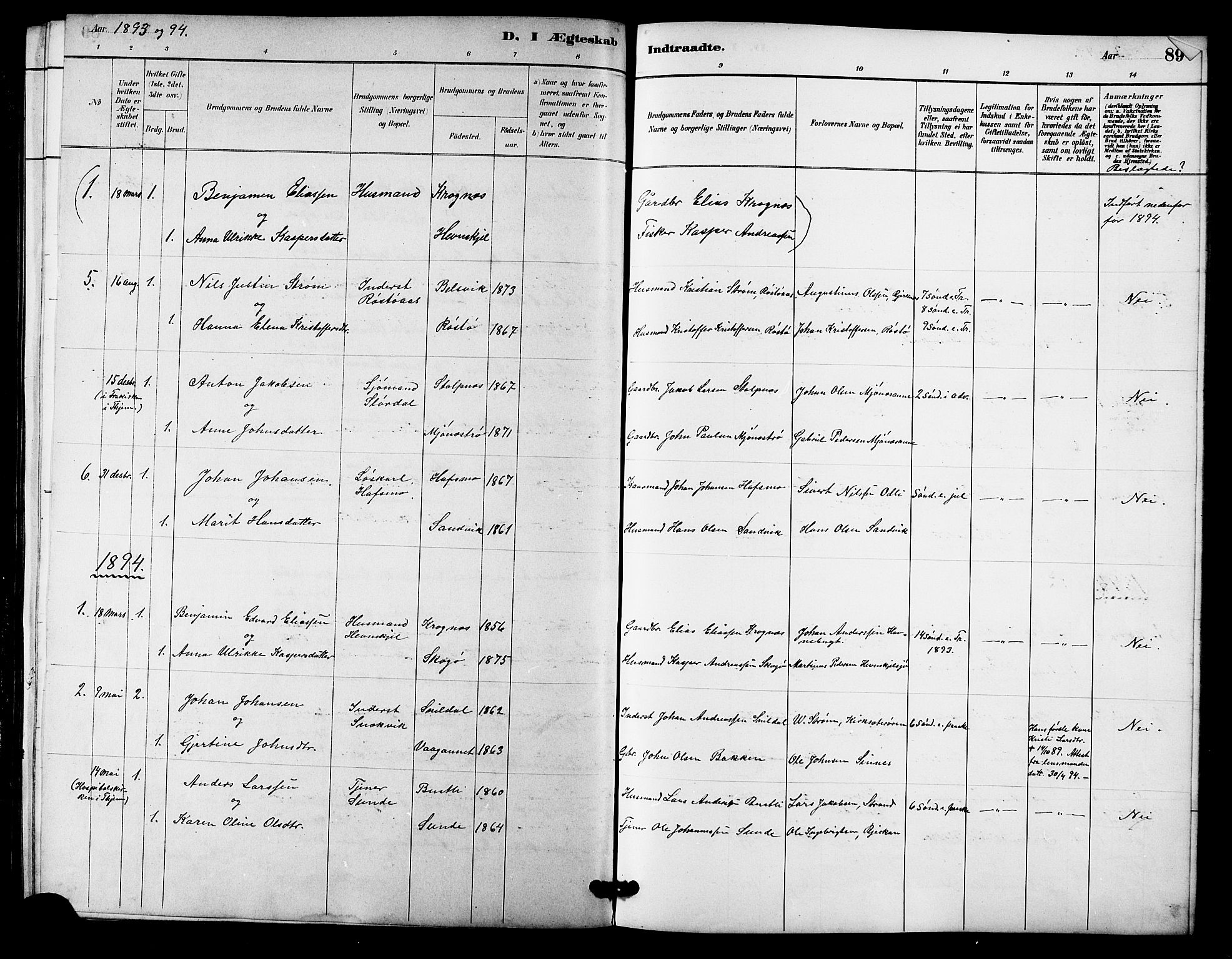 SAT, Ministerialprotokoller, klokkerbøker og fødselsregistre - Sør-Trøndelag, 633/L0519: Klokkerbok nr. 633C01, 1884-1905, s. 89