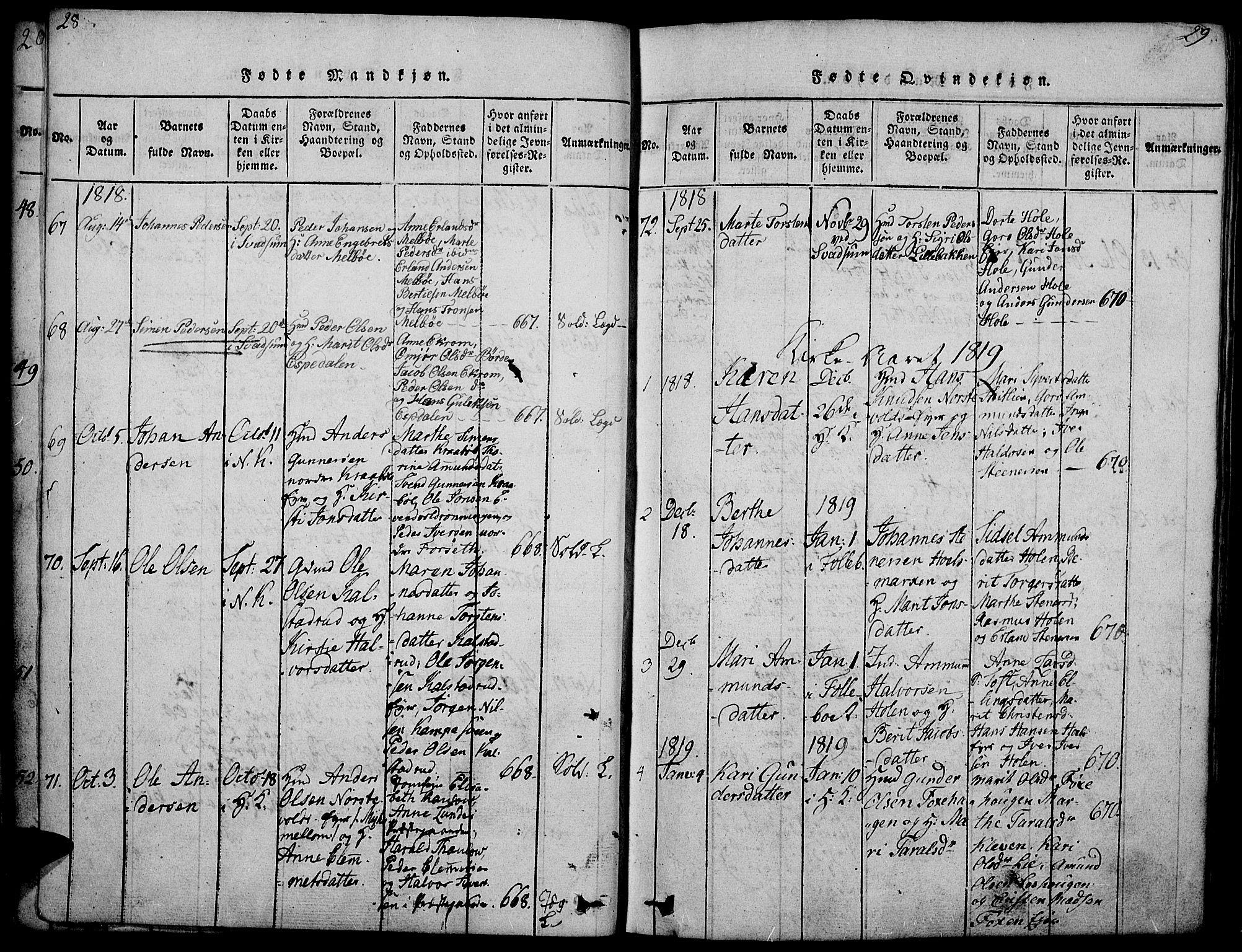 SAH, Gausdal prestekontor, Ministerialbok nr. 5, 1817-1829, s. 28-29