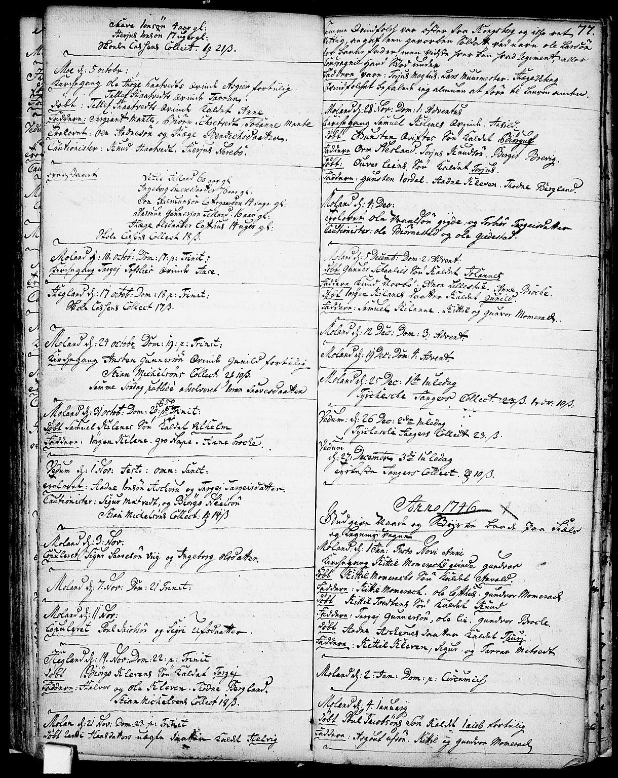 SAKO, Fyresdal kirkebøker, F/Fa/L0001: Ministerialbok nr. I 1, 1724-1748, s. 77