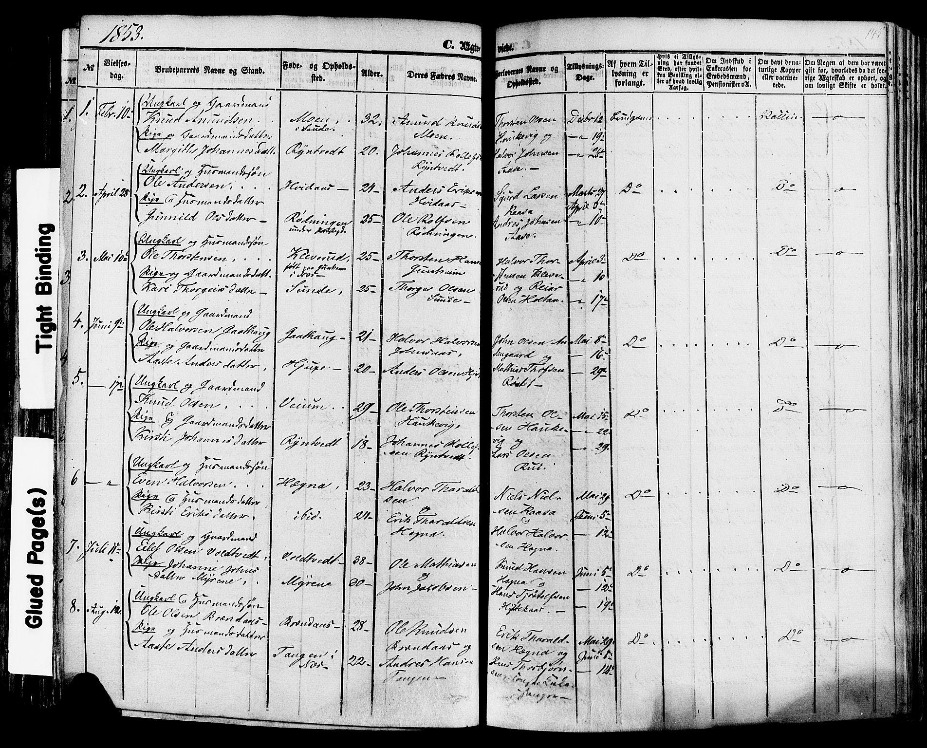 SAKO, Sauherad kirkebøker, F/Fa/L0007: Ministerialbok nr. I 7, 1851-1873, s. 145