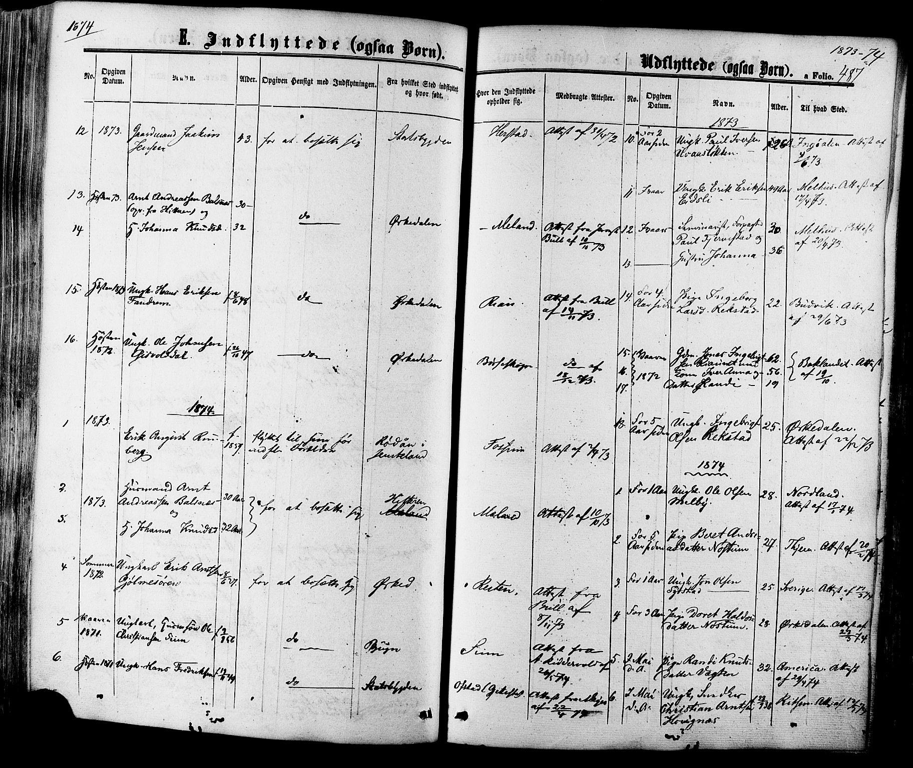 SAT, Ministerialprotokoller, klokkerbøker og fødselsregistre - Sør-Trøndelag, 665/L0772: Ministerialbok nr. 665A07, 1856-1878, s. 487