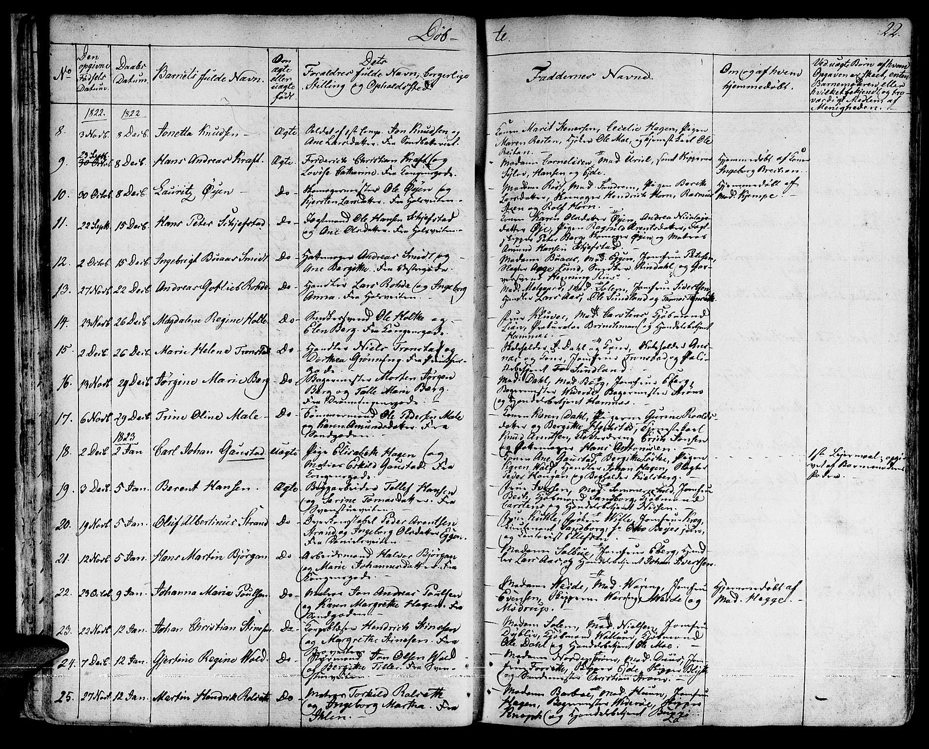 SAT, Ministerialprotokoller, klokkerbøker og fødselsregistre - Sør-Trøndelag, 601/L0045: Ministerialbok nr. 601A13, 1821-1831, s. 22
