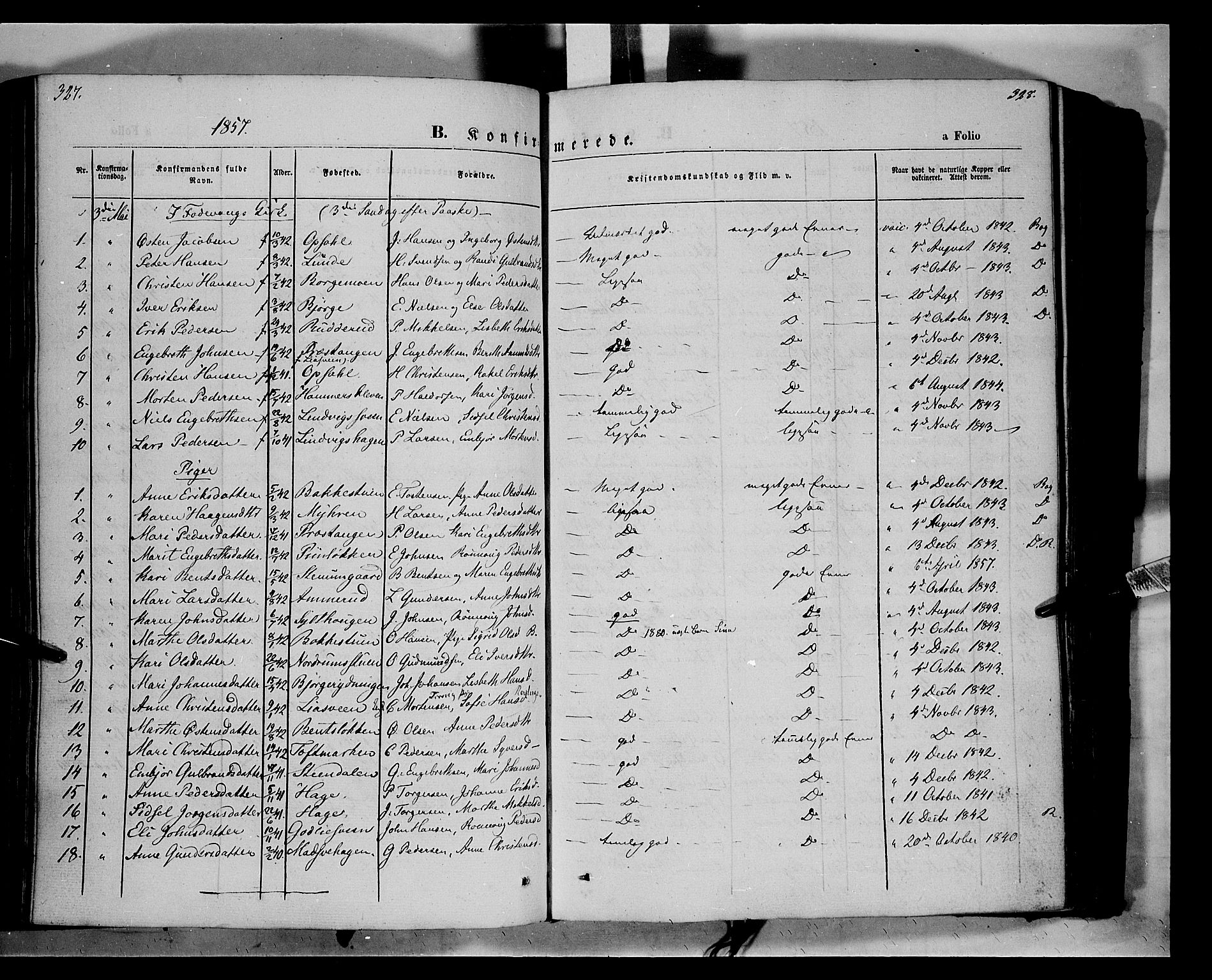 SAH, Ringebu prestekontor, Ministerialbok nr. 6, 1848-1859, s. 327-328